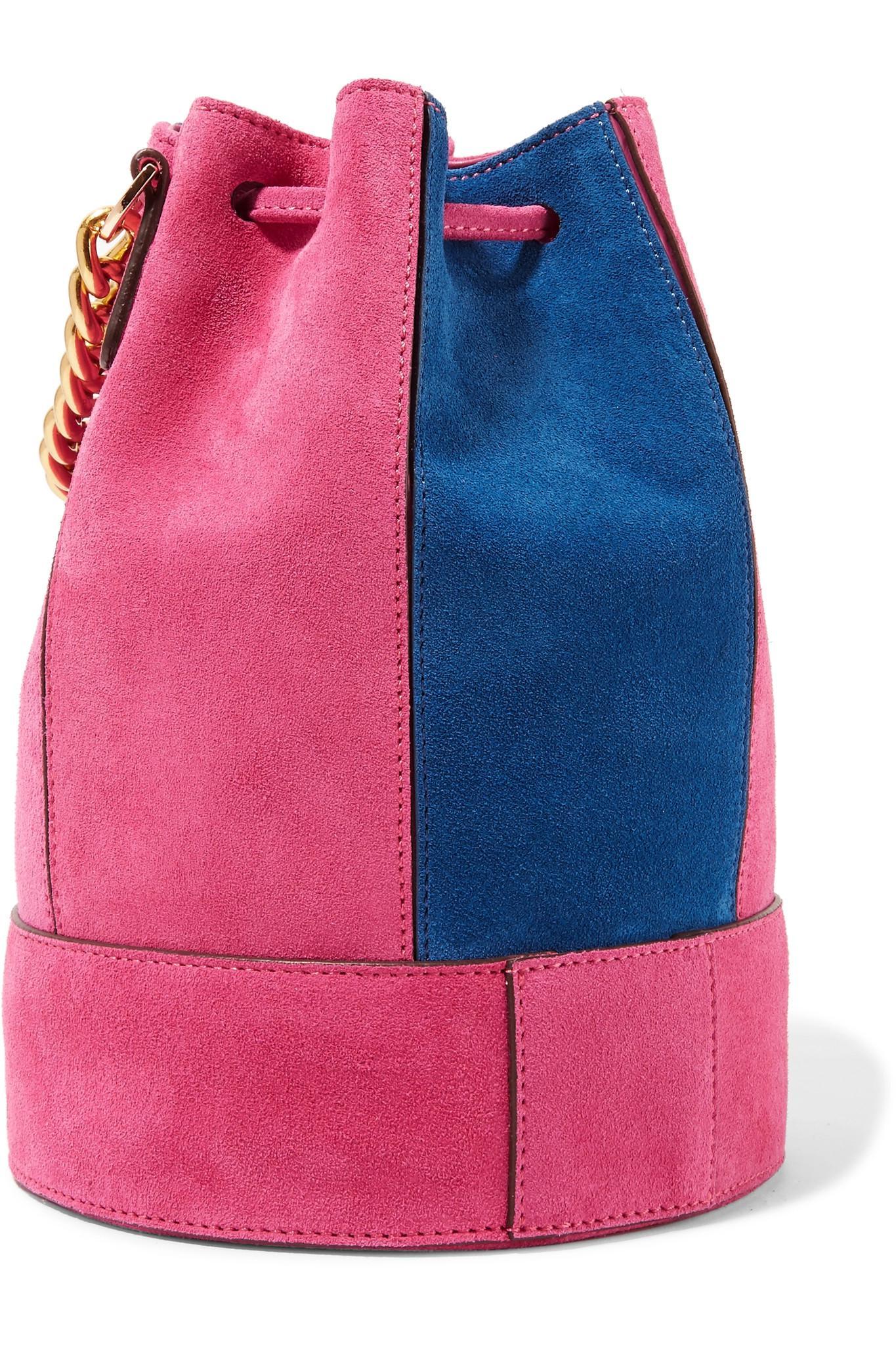 Zeal Two-tone Suede Bucket Bag - Magenta Manu Atelier Bmpkg