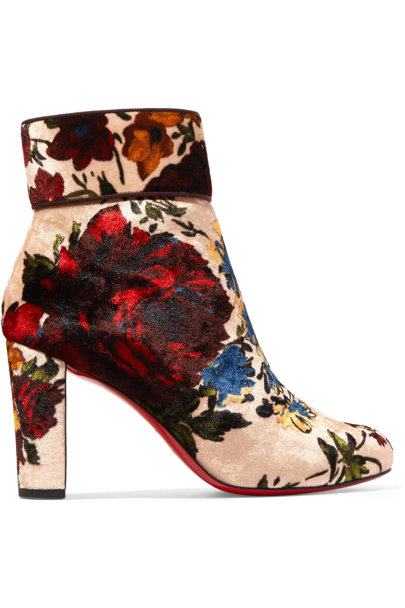 a0dc1b9b61aa Christian Louboutin Moulamax 85 Floral-print Velvet Ankle Boots in ...