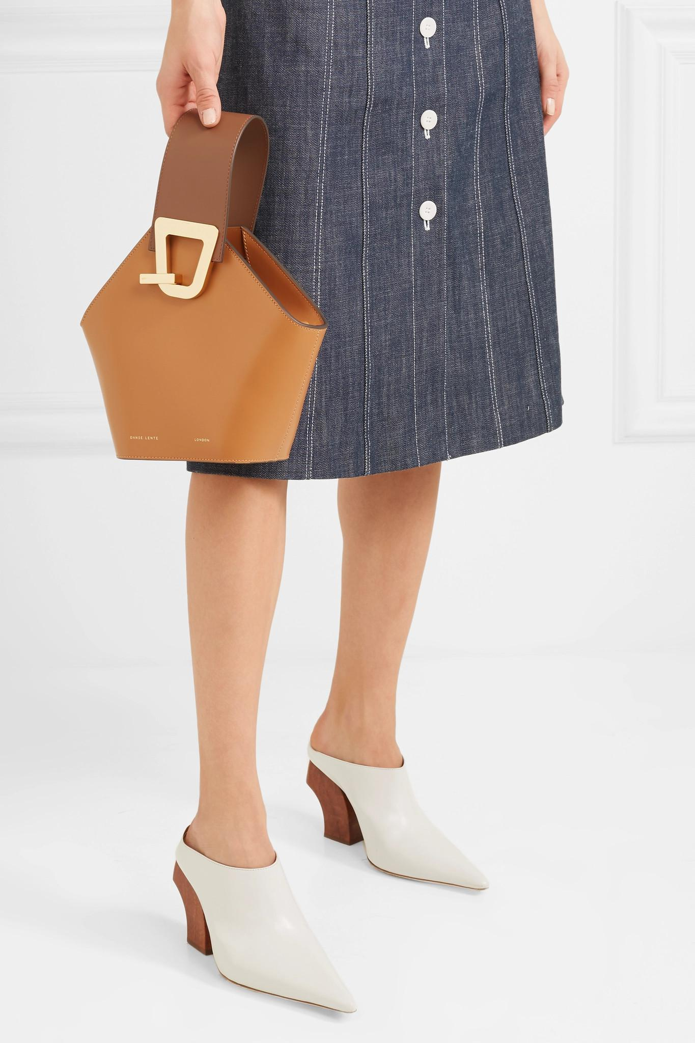 d7612e7e4cab Lyst - Danse Lente Mini Johnny Leather Top Handle Bag in Brown