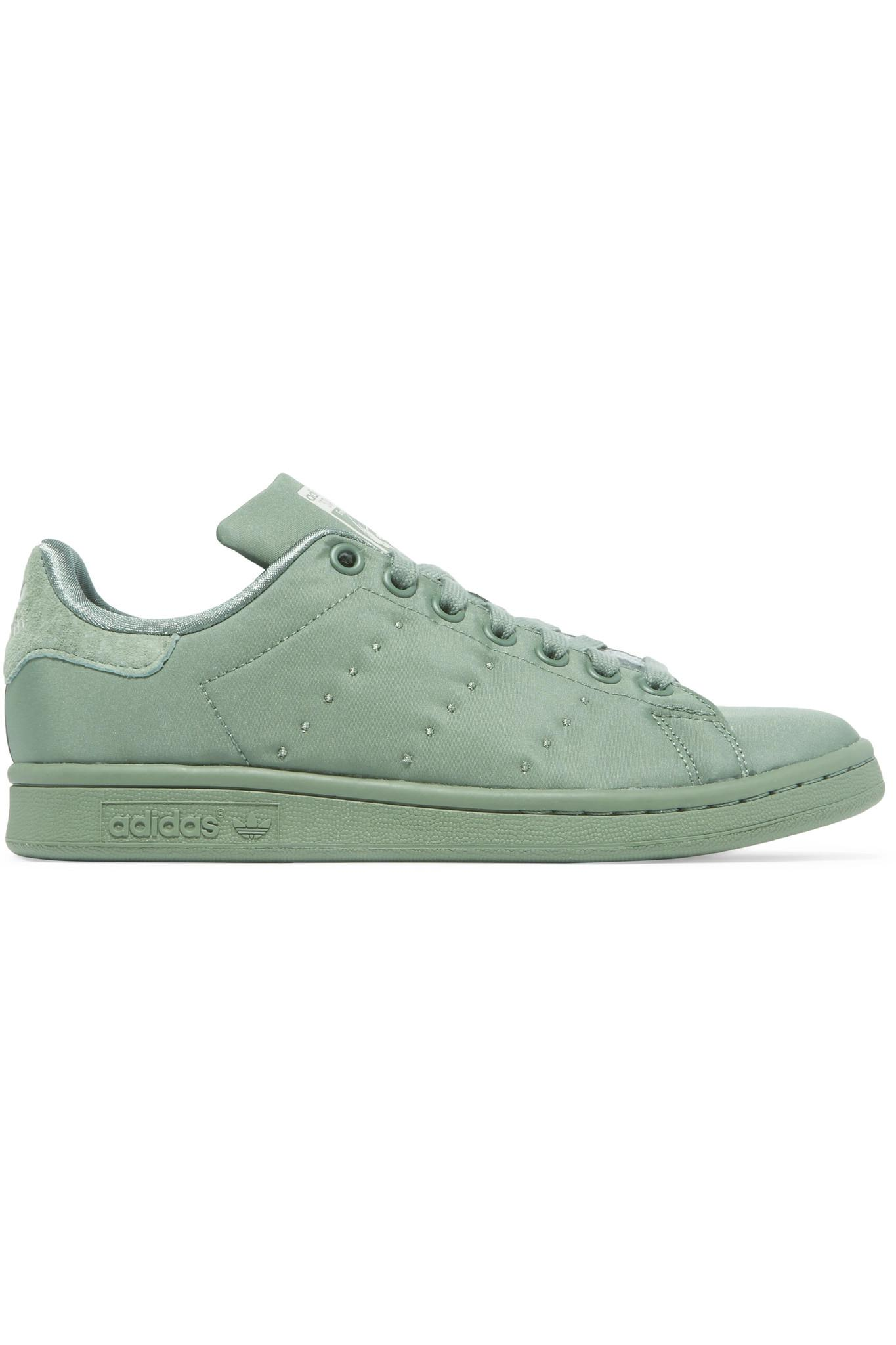e567bcc2aae4 adidas Originals. Women s Green Stan Smith Suede-trimmed Satin-twill  Trainers
