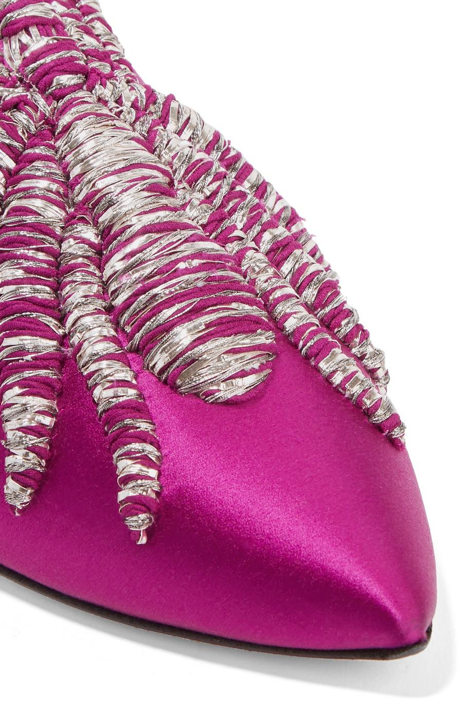 Ragno Embroidered Satin Slippers - Magenta Sanayi 313