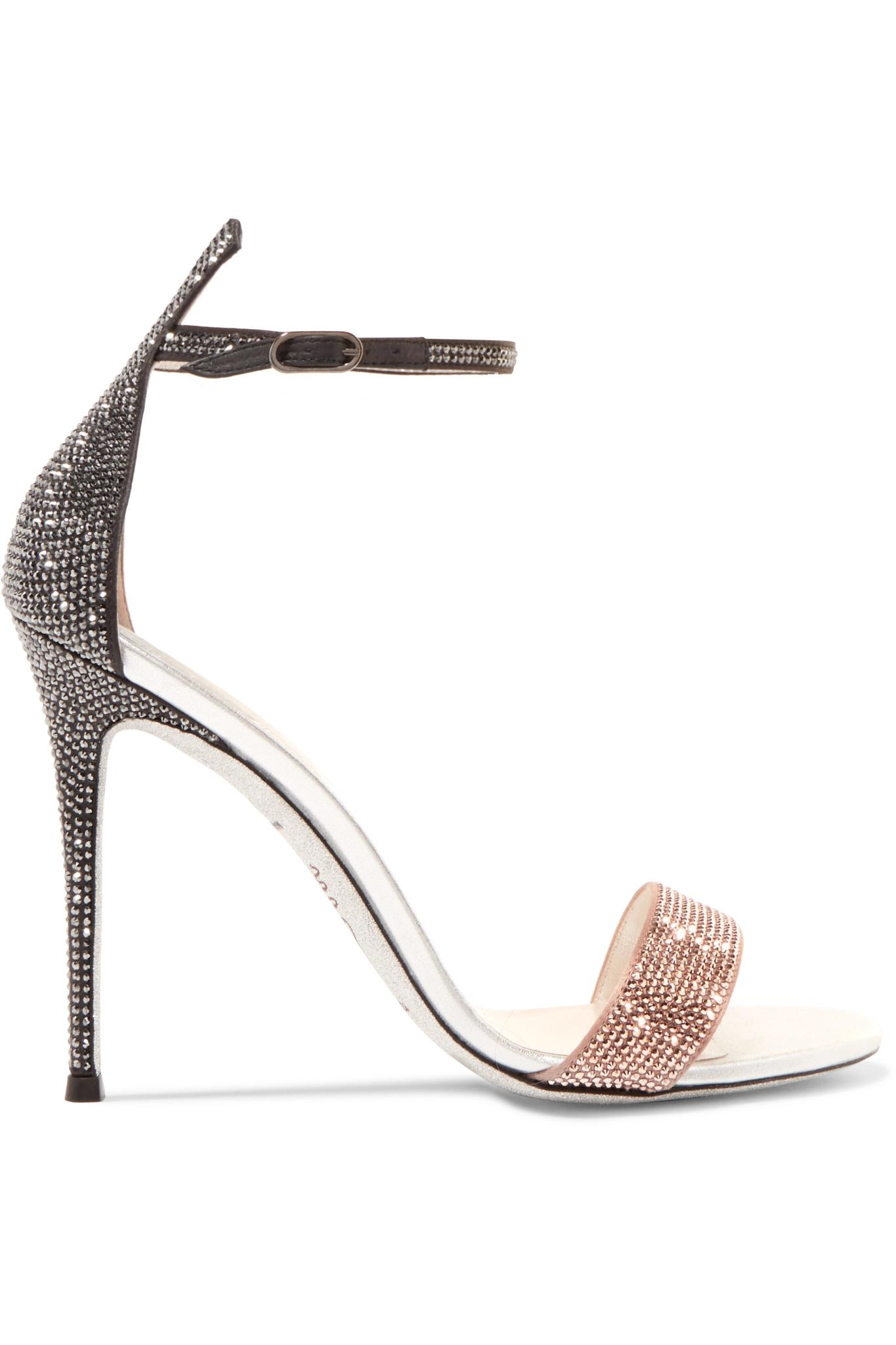 cecb5e7a9ad Lyst - Rene Caovilla Crystal-embellished Satin And Leather Sandals