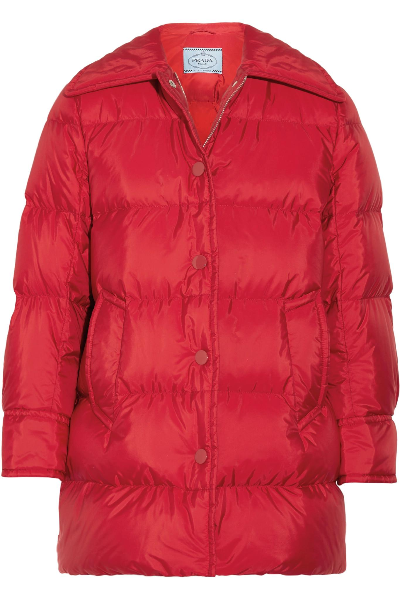 Prada. Women's Red Quilted Shell Down Jacket