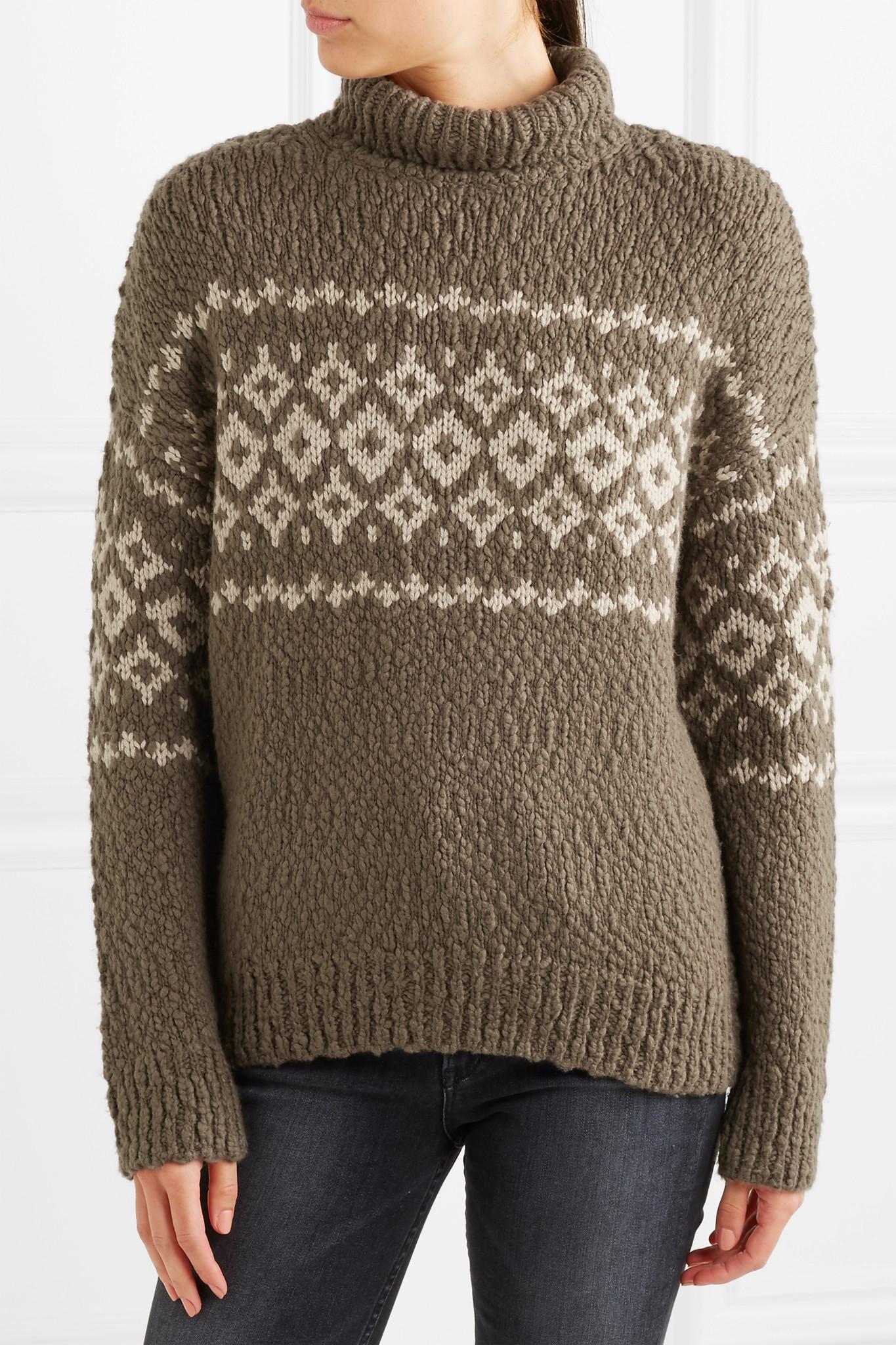 Vince Fair Isle Wool-blend Turtleneck Sweater in Gray | Lyst