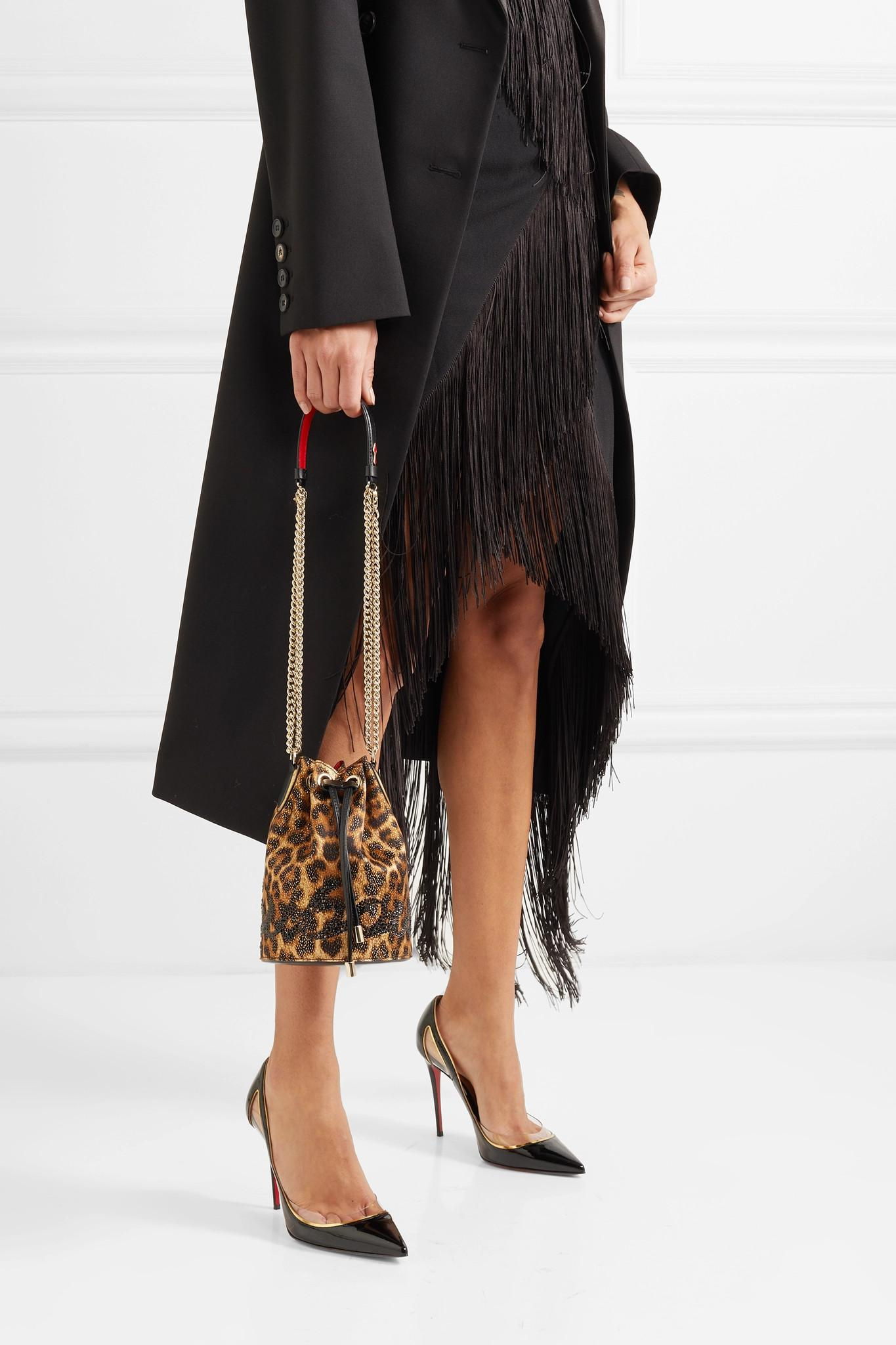 1dfc224a5c6 Christian Louboutin - Brown Marie Jane Embellished Leopard-print Lurex And Leather  Bucket Bag -. View fullscreen