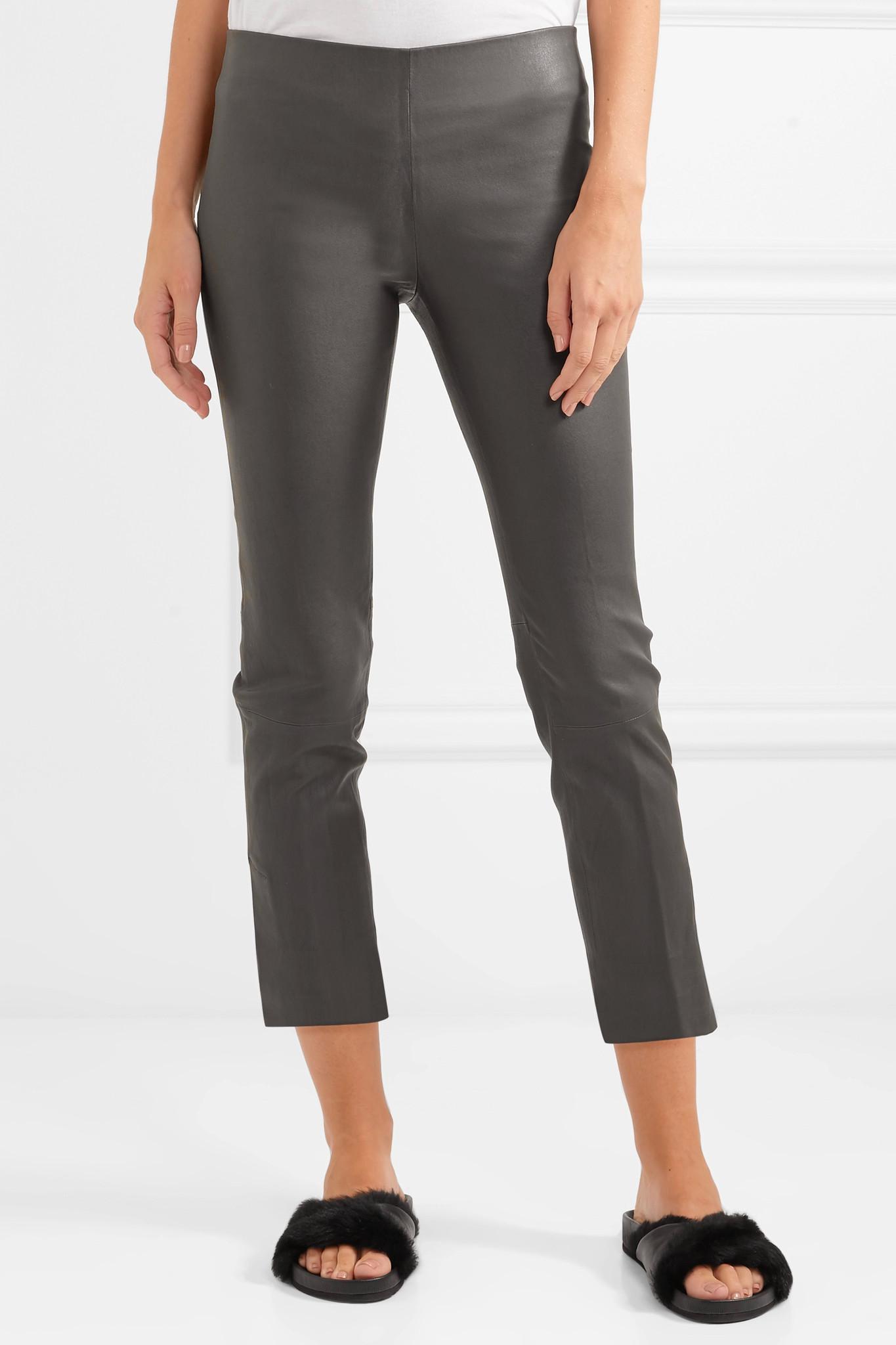 Cropped Leather Leggings - Dark gray Vince gu3wE4sT5