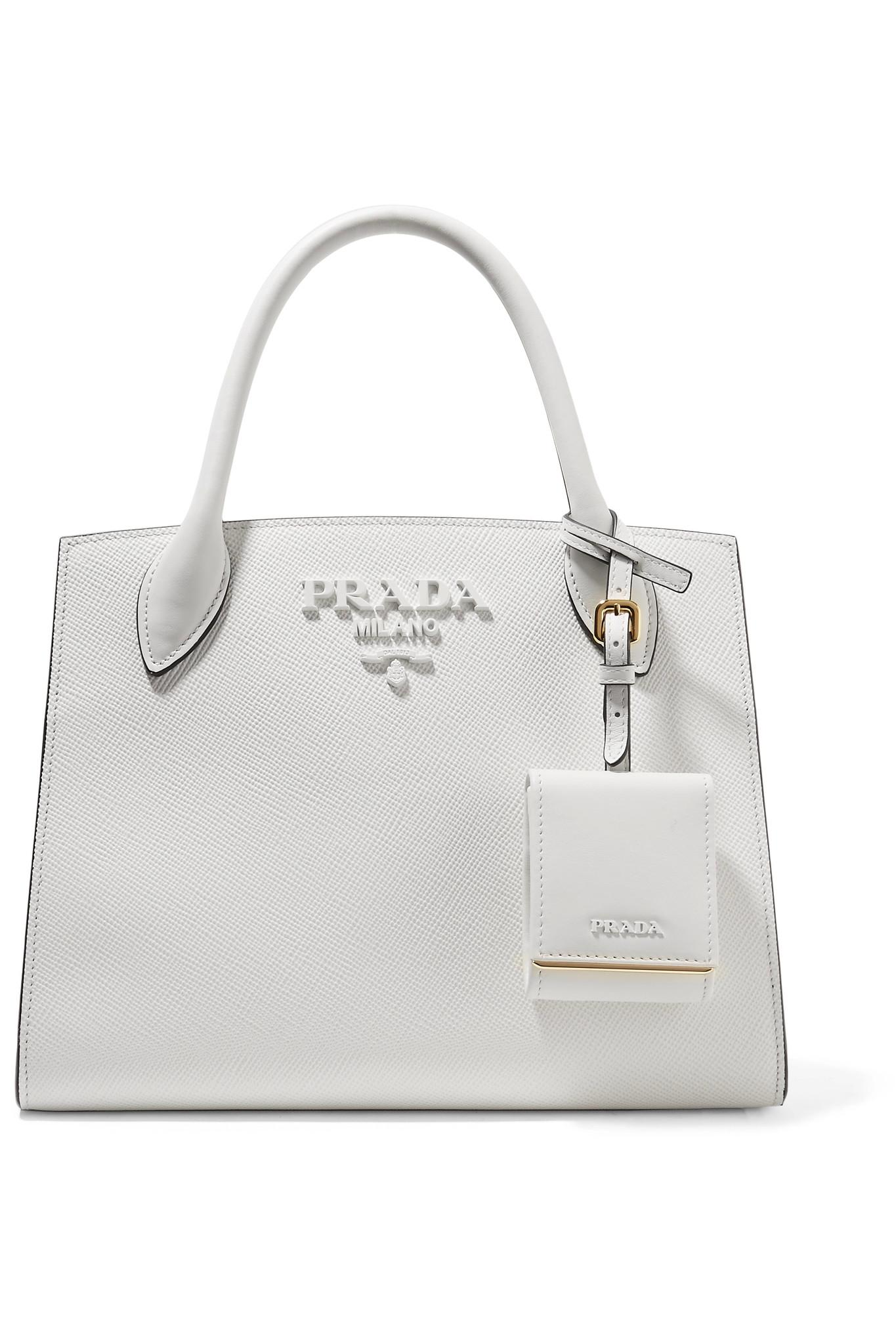 75578494a406 Lyst - Prada Textured-leather Tote in White