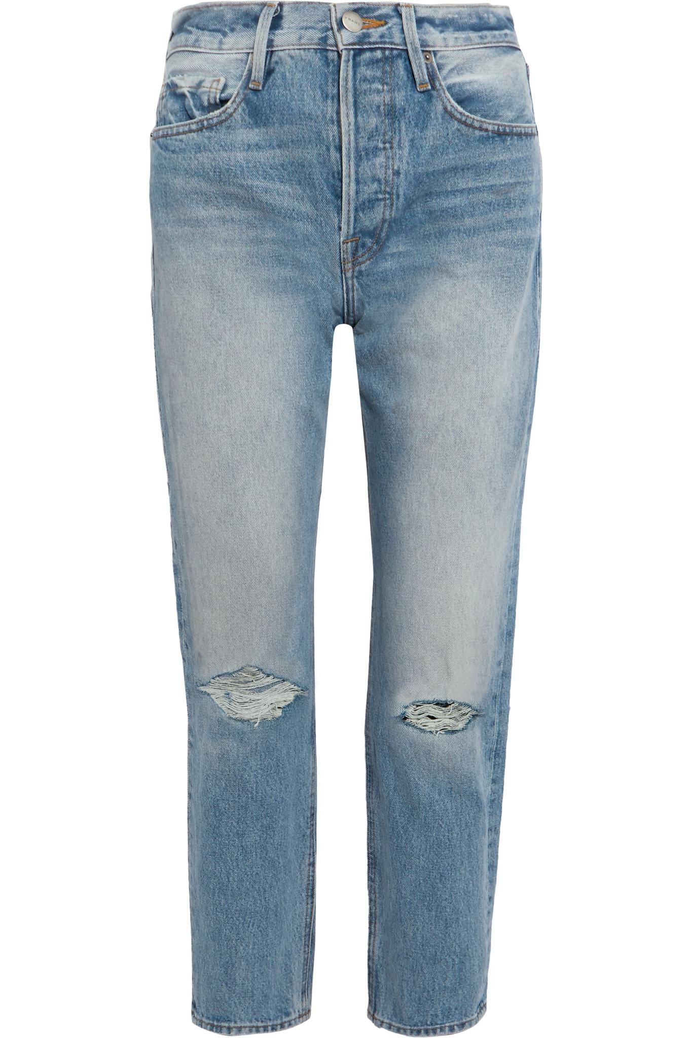 Outlet Pay With Paypal Le Original Distressed High-rise Straight-leg Jeans - Blue Frame Denim Sale Browse Store Clearance Best Sale snFMGjb
