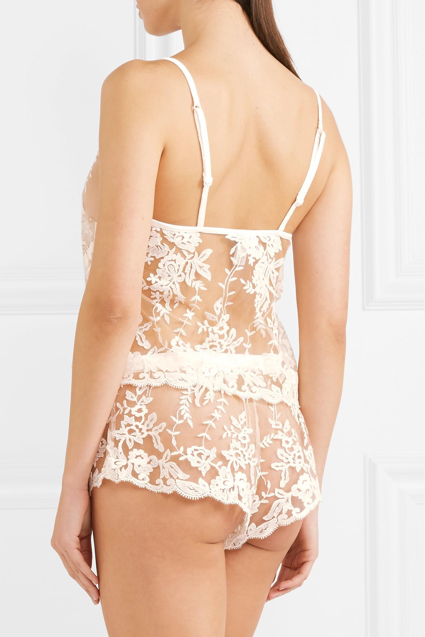 Websites Cheap Price Cheap Recommend Rosie Embroidered Cotton-blend Tulle Camisole - Ivory Cosabella ElzI9W