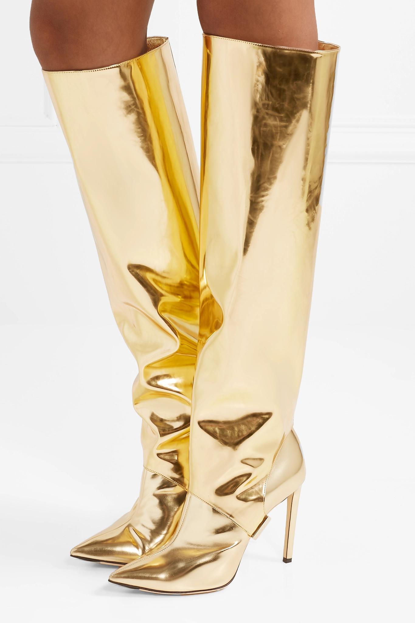 ef4bb5fc1857 Lyst - Jimmy Choo Hurley 100 Convertible Metallic Mirrored-leather ...