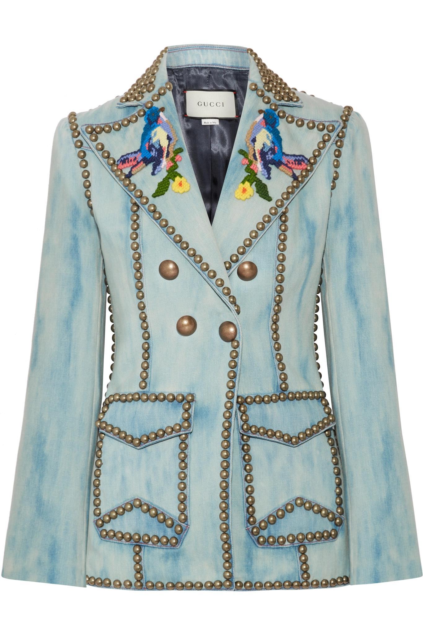 Lyst - Veste en jean à ornements Gucci en coloris Bleu 30741972271