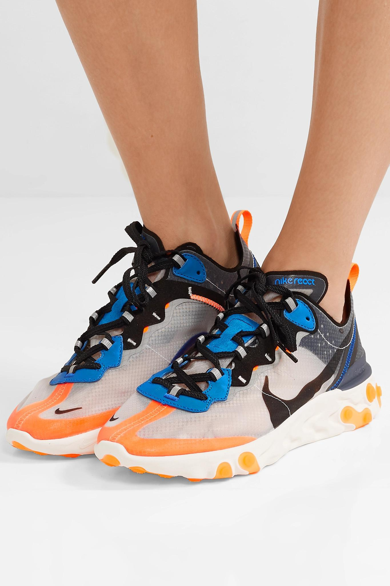 4b734bed79c5 Nike - Gray React Element 87 Microsuede-trimmed Ripstop Sneakers - Lyst.  View fullscreen