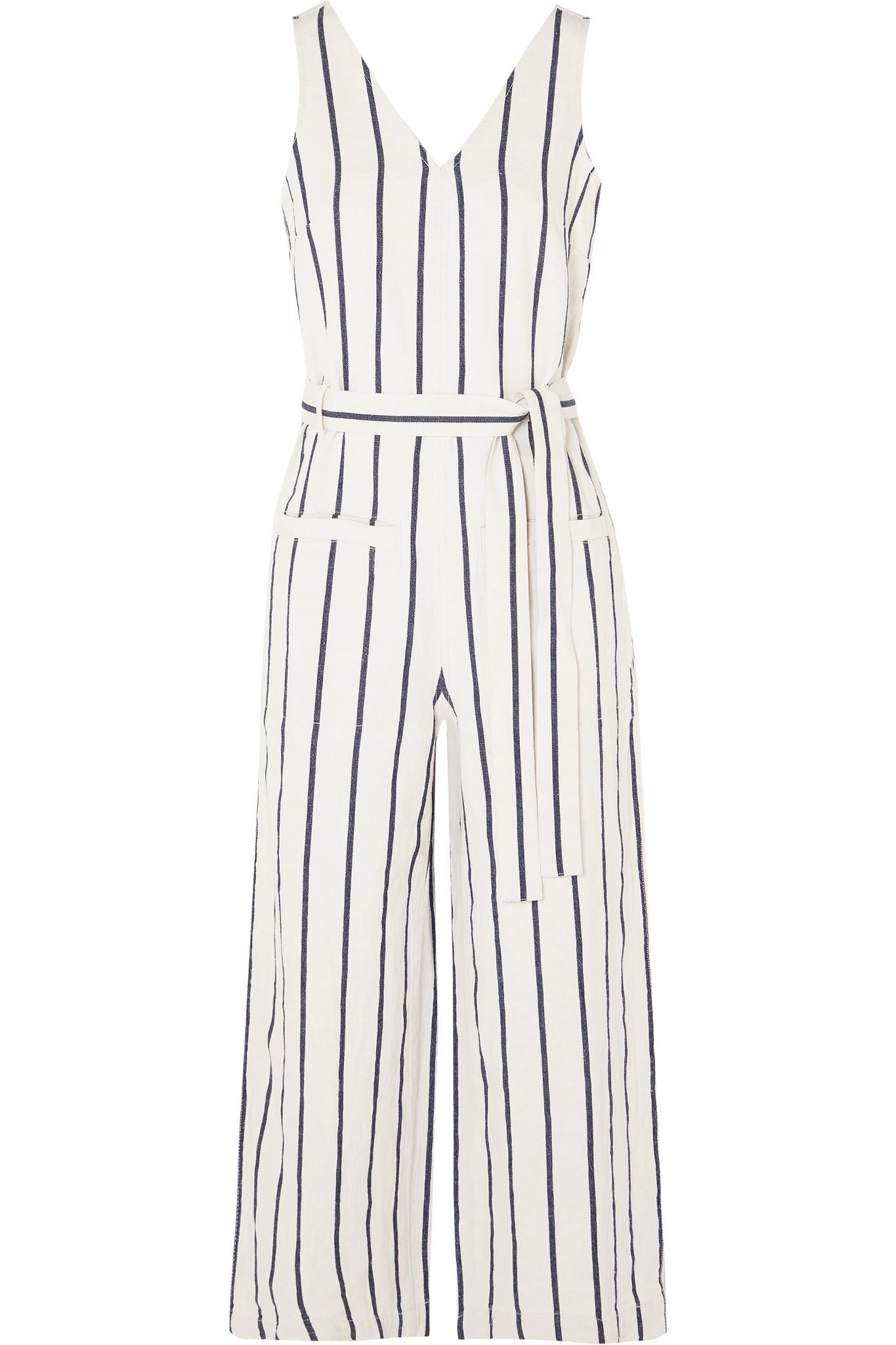 6c8f522fed Lyst - Madewell Striped Cotton And Linen-blend Jumpsuit - Save 61%