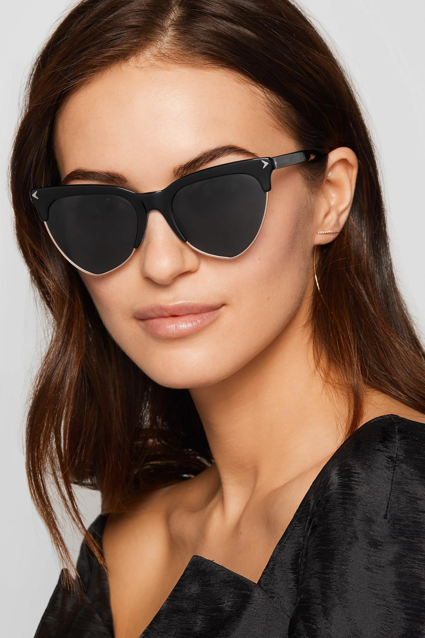 a586640f94bde Givenchy Cat-eye Acetate And Rose Gold-tone Sunglasses in Black - Lyst