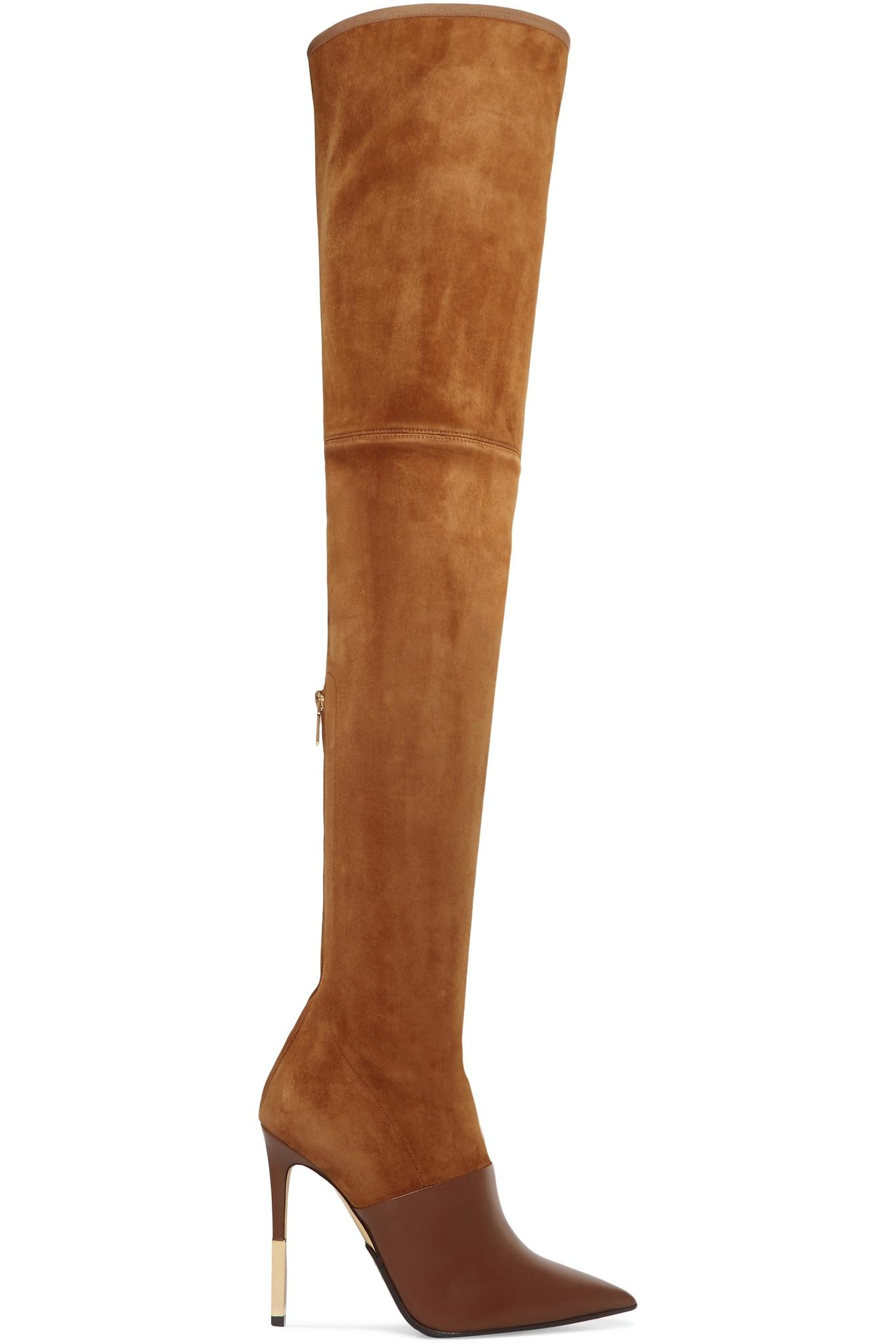 2280ebf6af2 Balmain Amazon Suede And Leather Over-the-knee Boots in Brown - Lyst