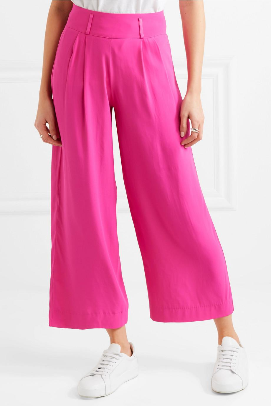 Elodie Cropped Crepe Wide-leg Pants - Fuchsia Staud