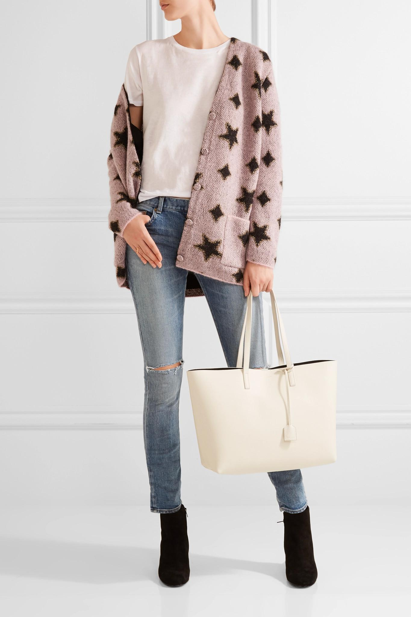 6b60464836a Lyst - Saint Laurent Shopping Large Textured-leather Tote in White