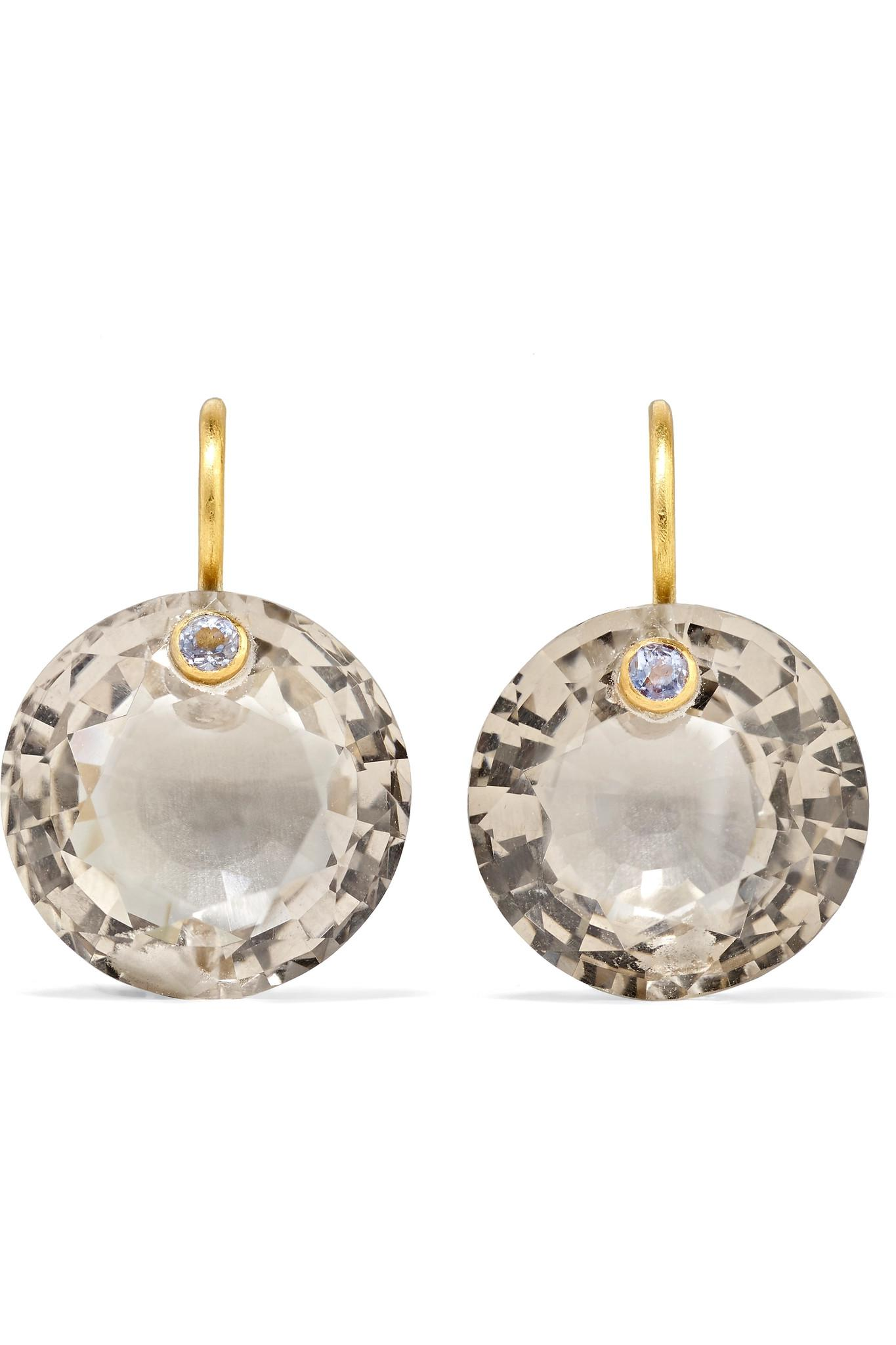 18-karat Gold, Quartz And Sapphire Earrings - one size Marie-H