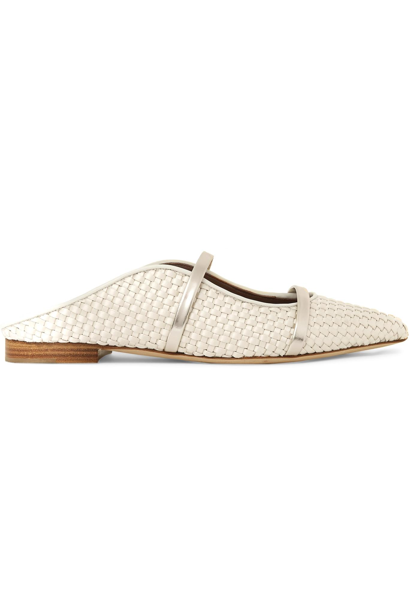 60b2650612f Malone Souliers. Women s Natural Maureen Metallic Leather-trimmed Woven  Satin Point-toe Flats
