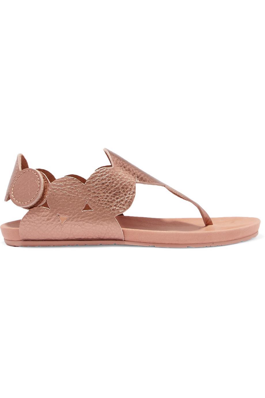 Pedro Garcia Jamee Metallic Textured-leather Sandals Discount View mRcVK8PRh