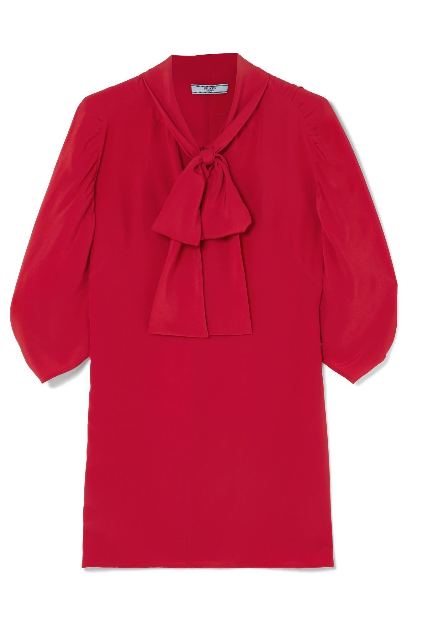 e9b34e89dc6941 Prada - Red Pussy-bow Silk Crepe De Chine Blouse - Lyst. View fullscreen