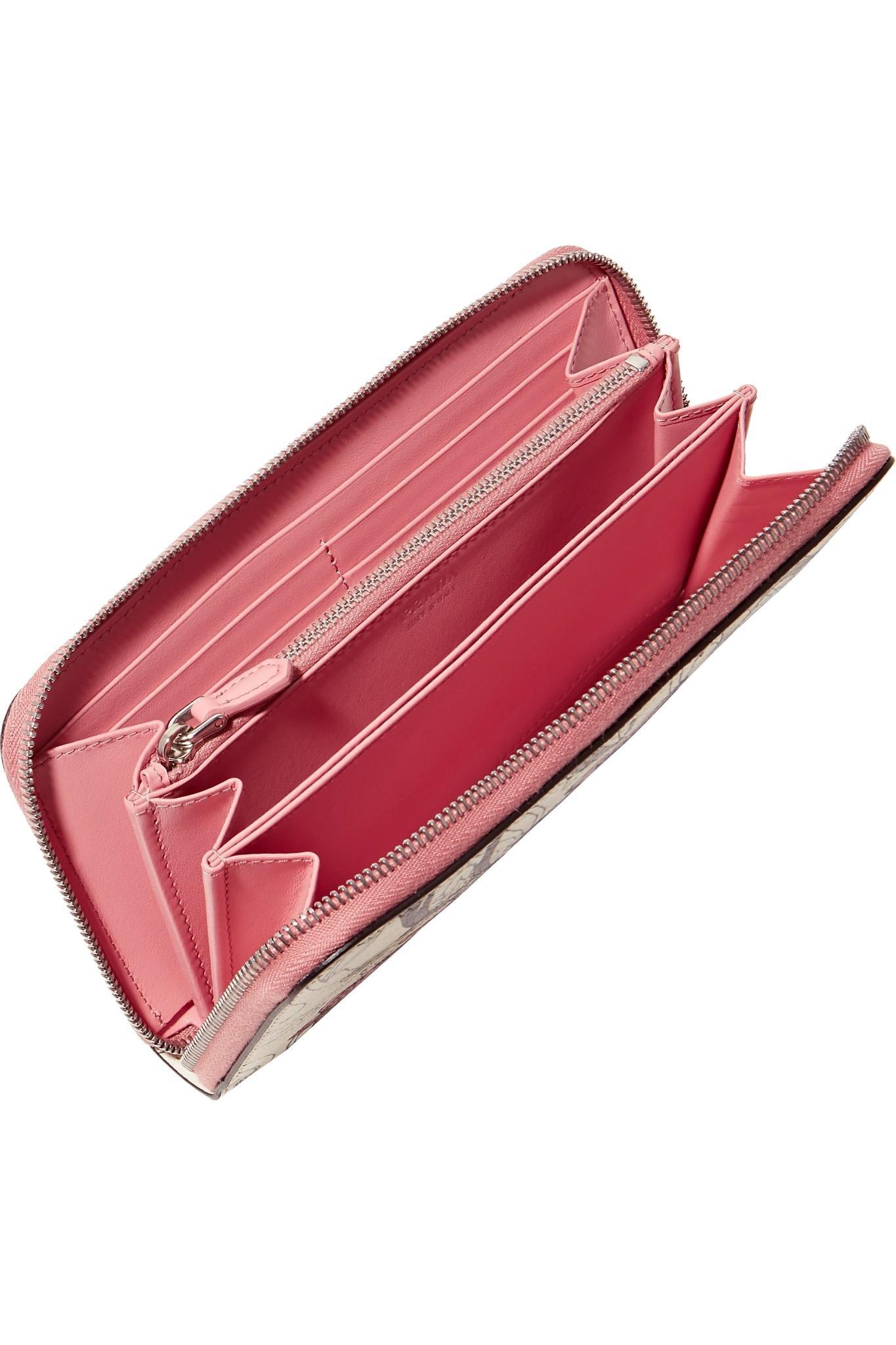 Printed Textured-leather Continental Wallet - Cream Prada 8hkAaWToP