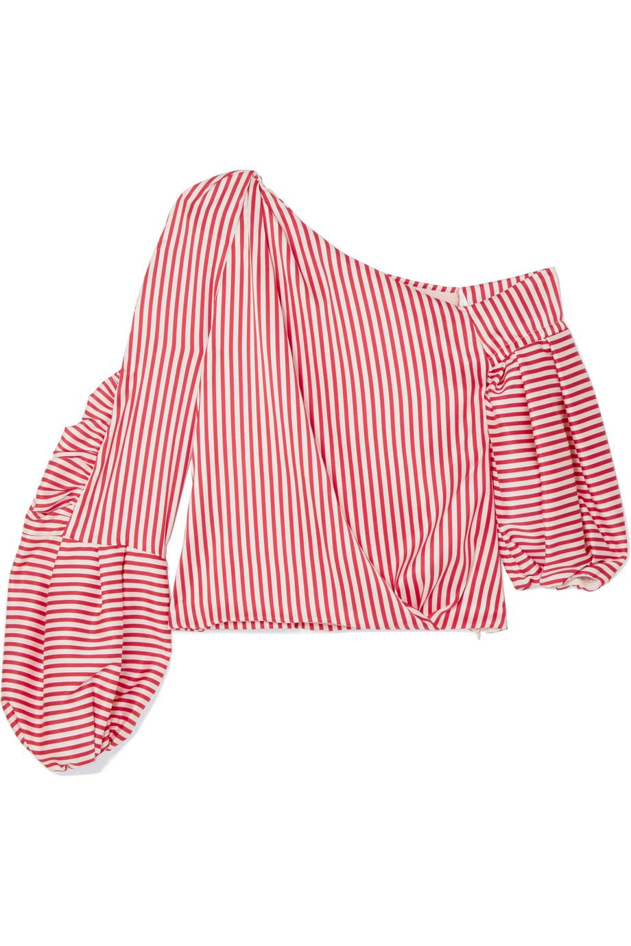 Hilda One-shoulder Striped Silk-blend Twill Top - Red Hellessy Sale Best Seller Really Cheap Online Cheap Official Site s9ldf