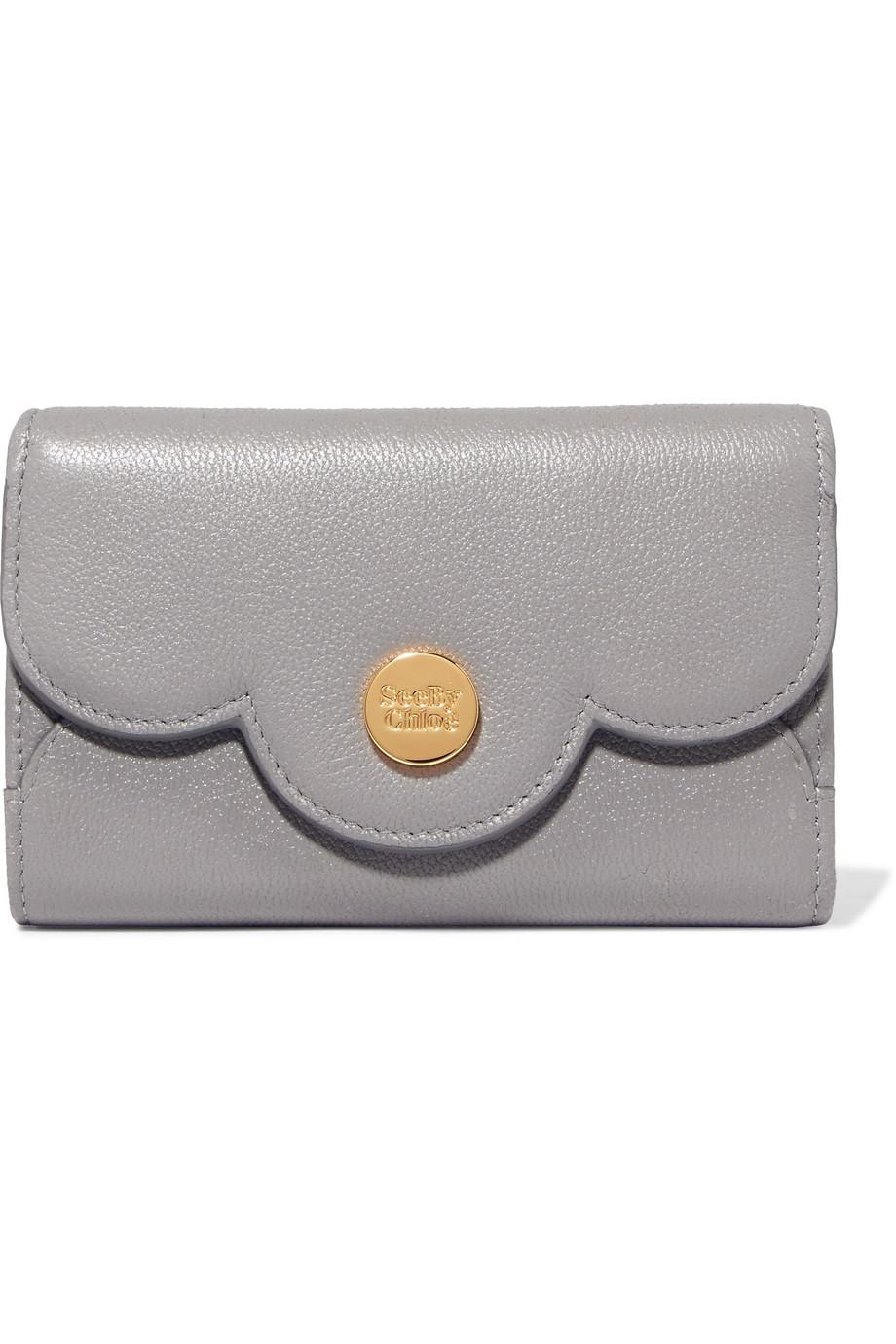 Polina Scalloped Textured-leather Wallet - Black See By Chloé Low Shipping Sale Online w33O6TJ