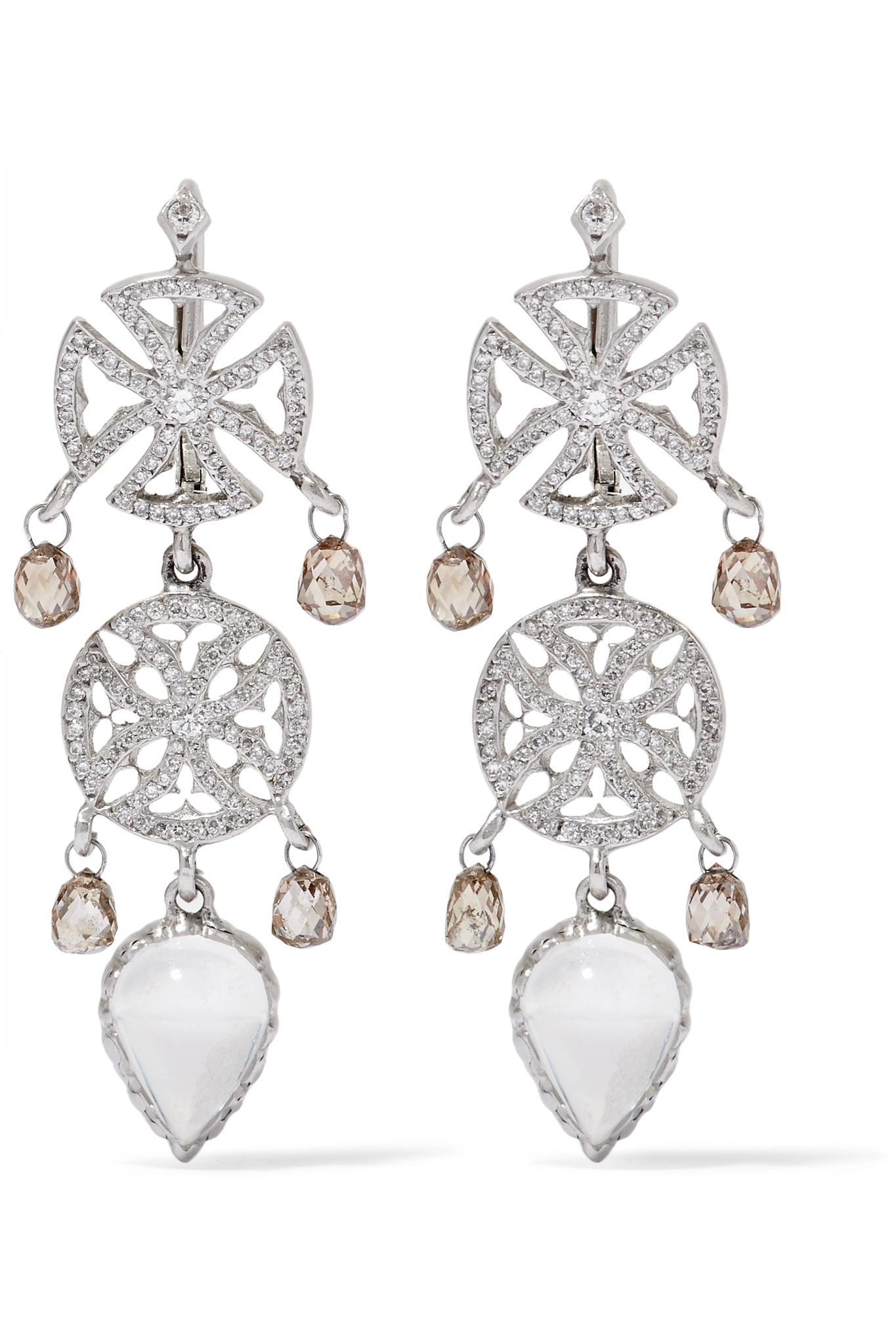Loree Rodkin 18-karat White Gold Multi-stone Earrings dDuY7L4W2
