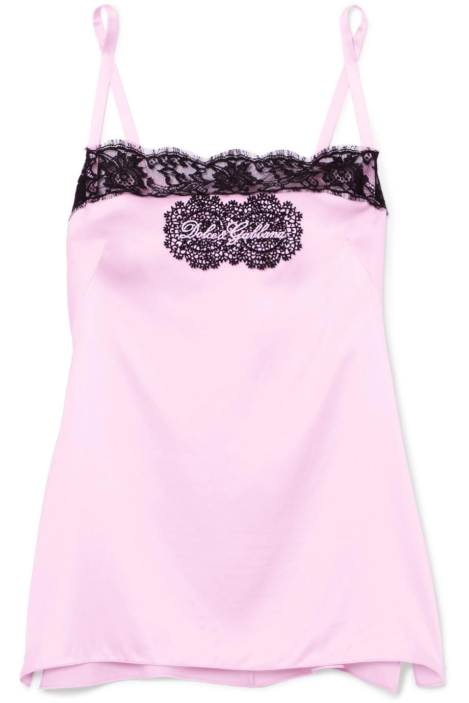 Embellished Lace-trimmed Silk-blend Satin Camisole - Blush Dolce & Gabbana Cheap Sale New Wholesale Price aBcHVrkC7E