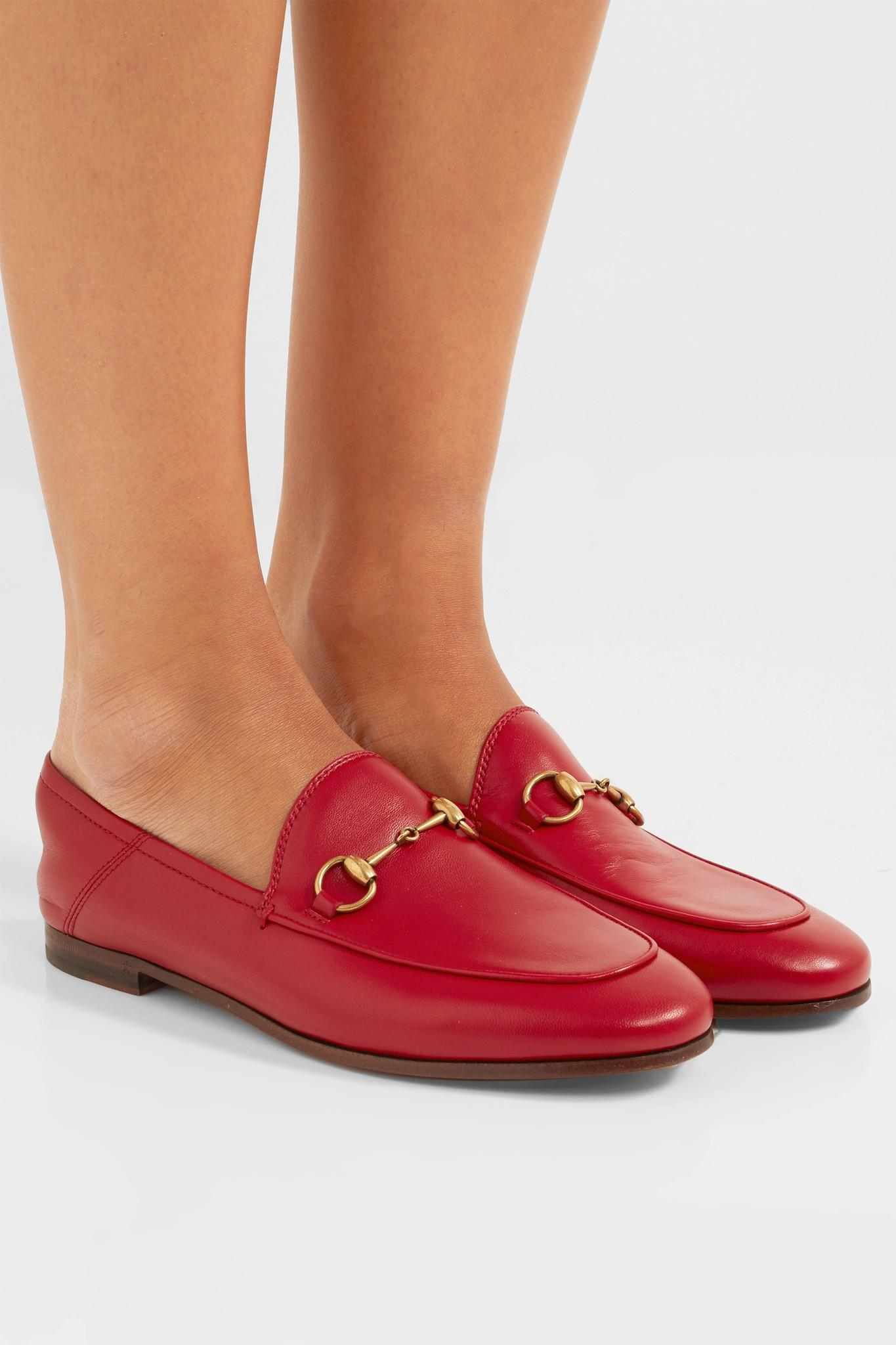 0ea2a99fd0c5 Gucci - Red Princetown Horsebit-detailed Leather Collapsible-heel Loafers -  Lyst. View fullscreen