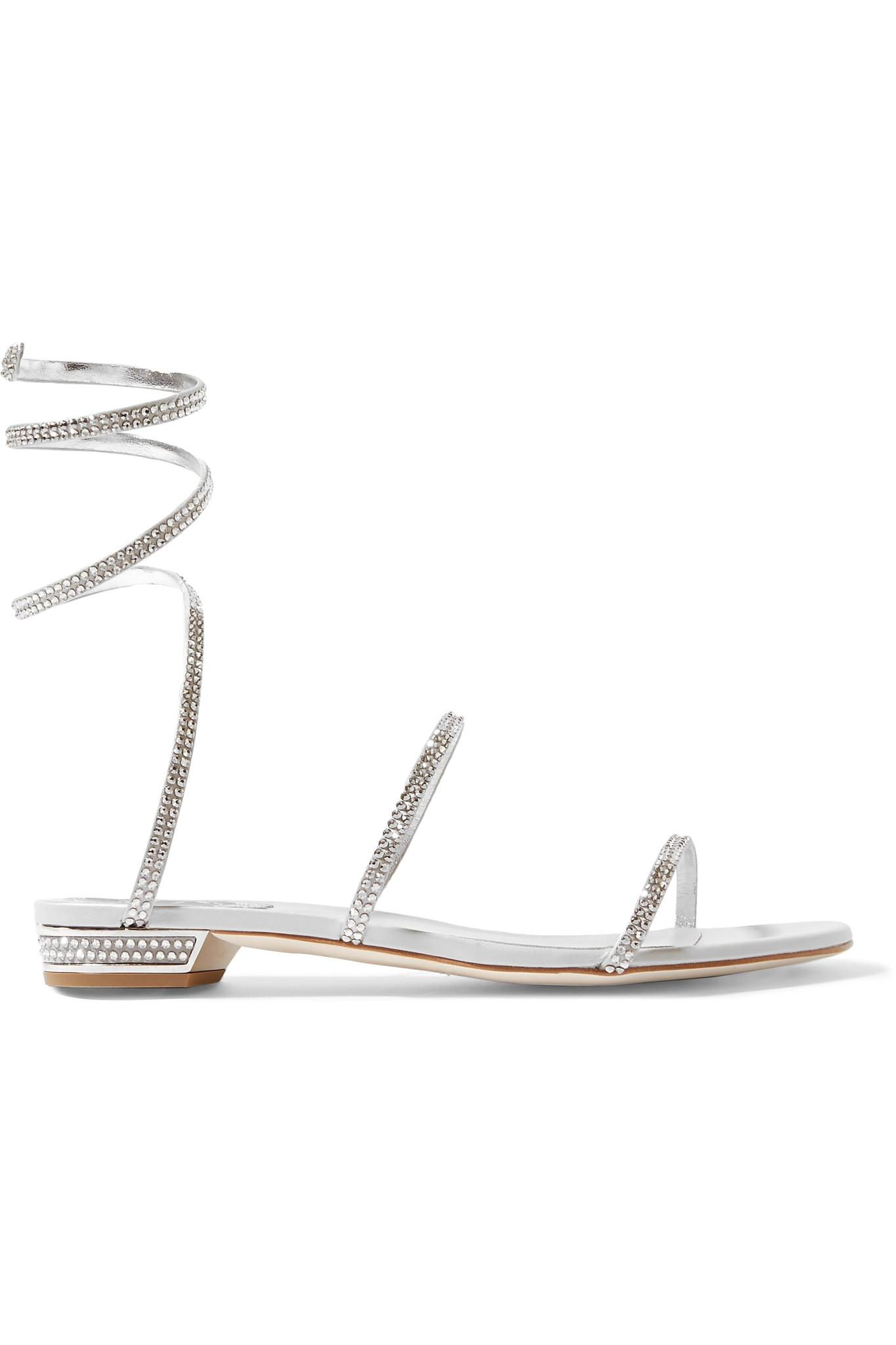 ad40ba082cbade Rene Caovilla. Women s Cleo Crystal-embellished Metallic Leather Sandals