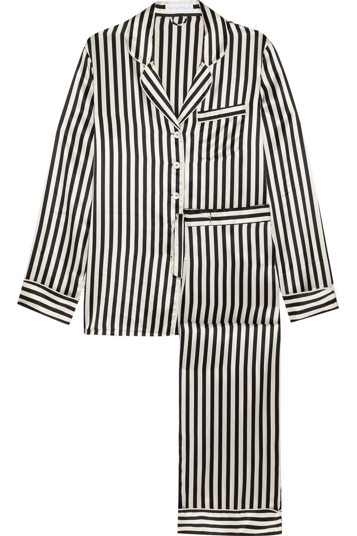 Olivia Von Halle Lila Striped Silk-satin Pajama Set in Black - Lyst b8b5a3007