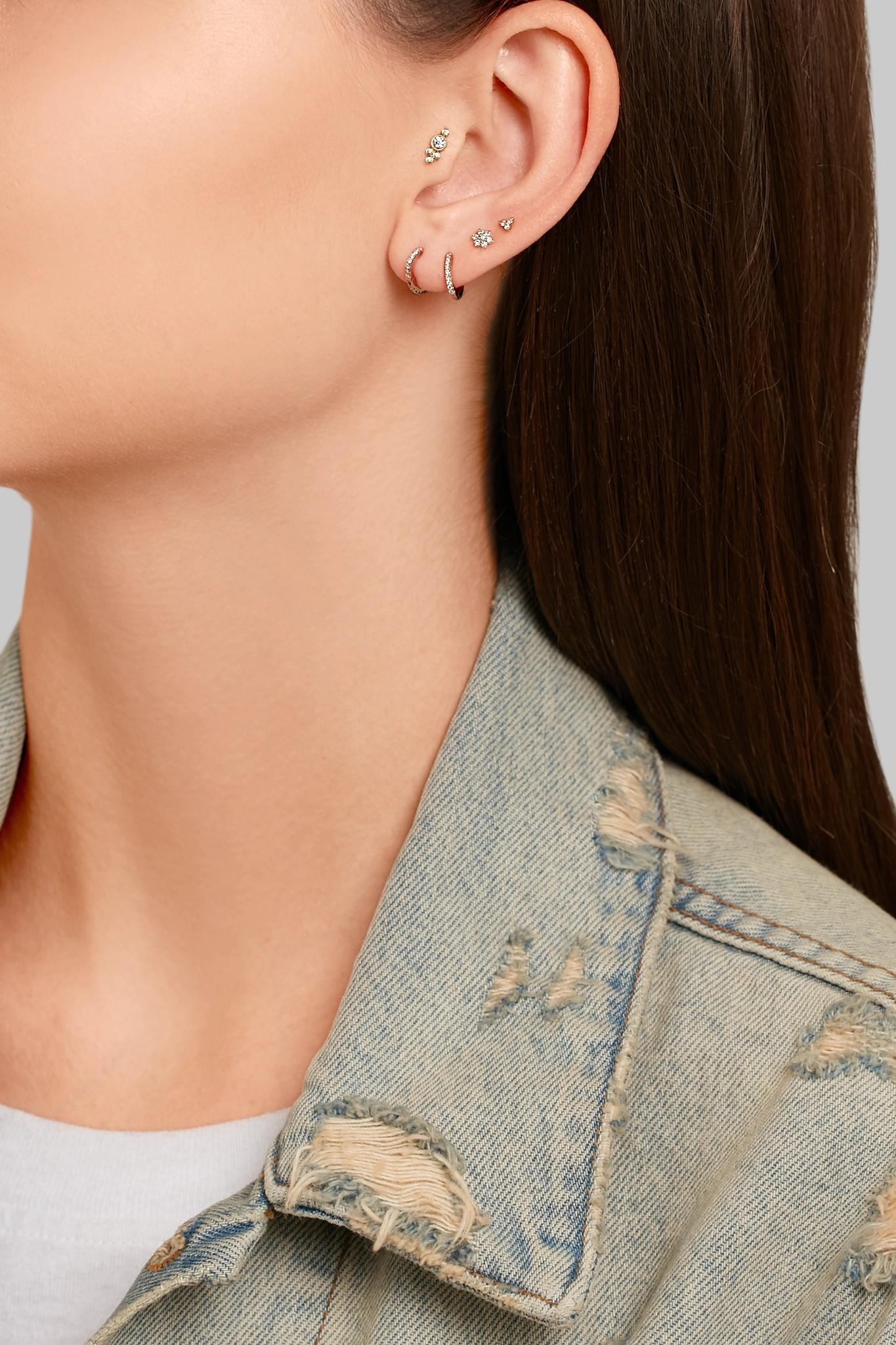 Maria Tash Mini 18-karat White Gold Diamond Earring z0A88f6