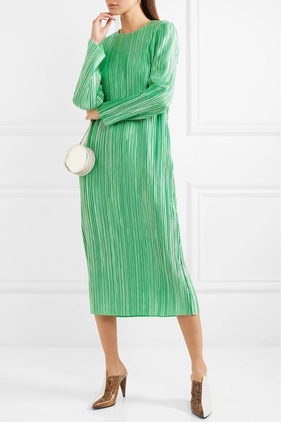 Clearance High Quality Pleated Satin Midi Dress - Green Tibi Cheap Sale Websites wTePxkjQd