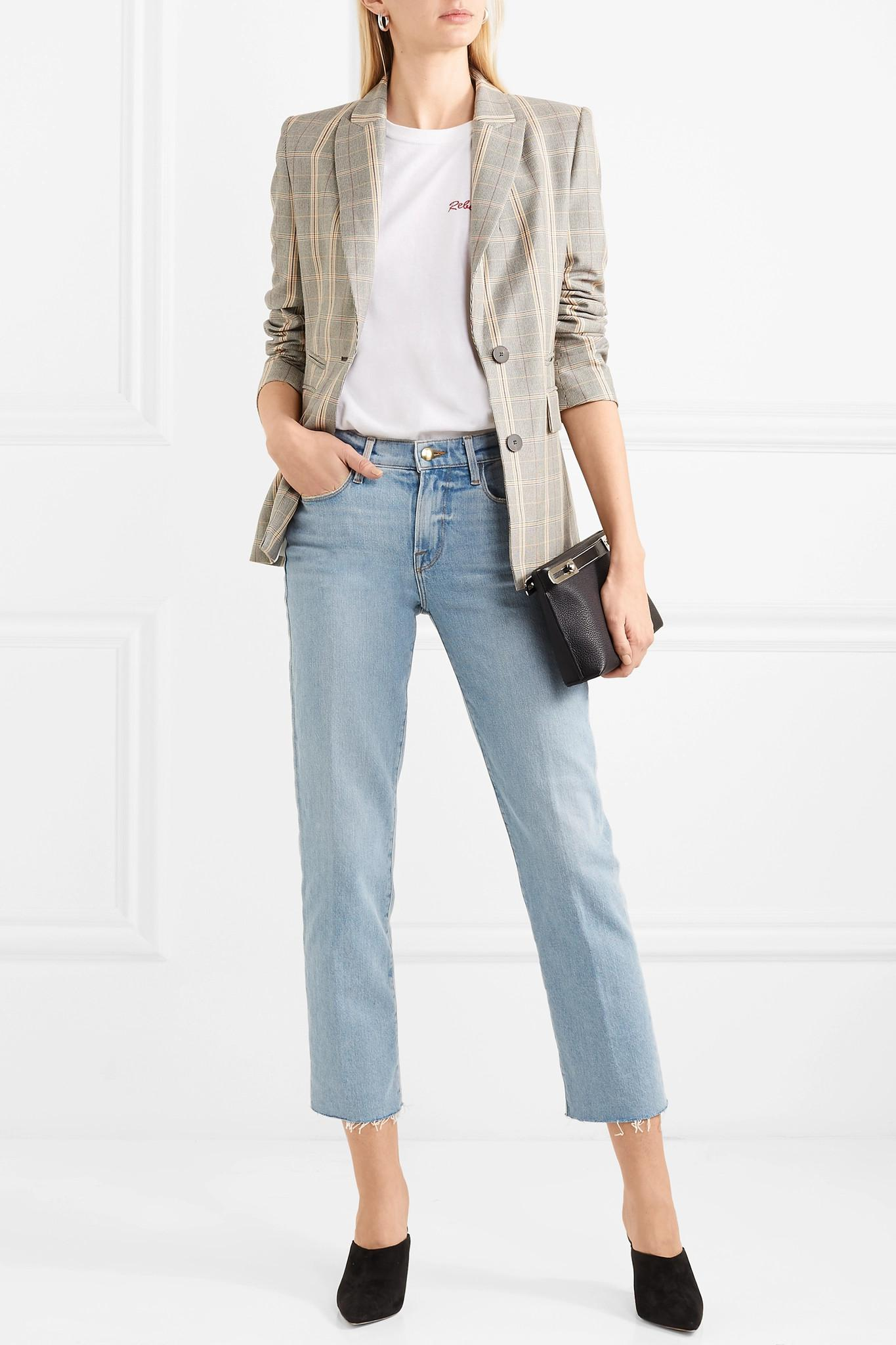 7449362cdc0df FRAME Le Nouveau Cropped Mid-rise Straight-leg Jeans in Blue - Lyst