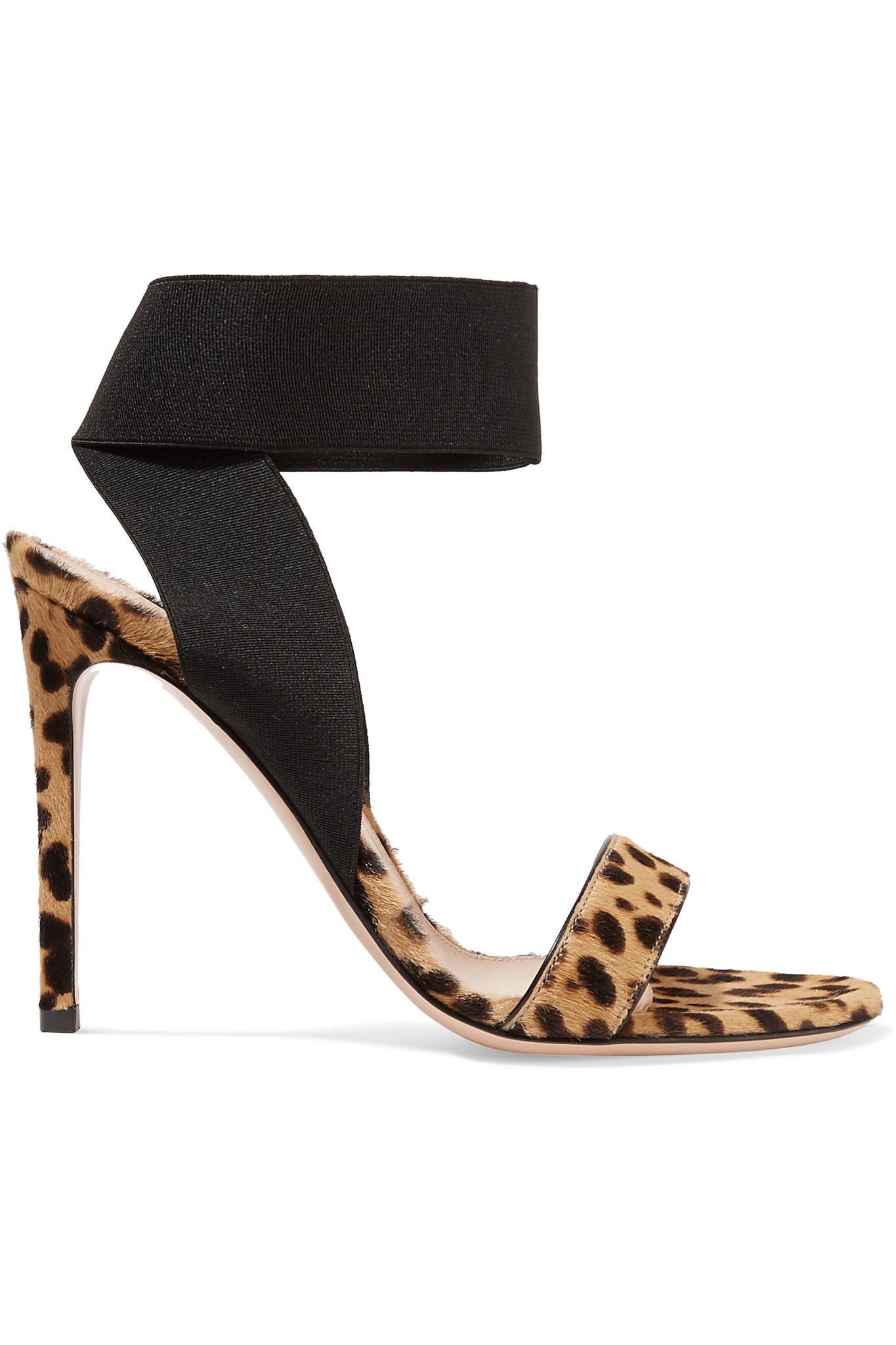 c55937702dde Gianvito Rossi. Women s 105 Leopard-print Calf Hair Sandals