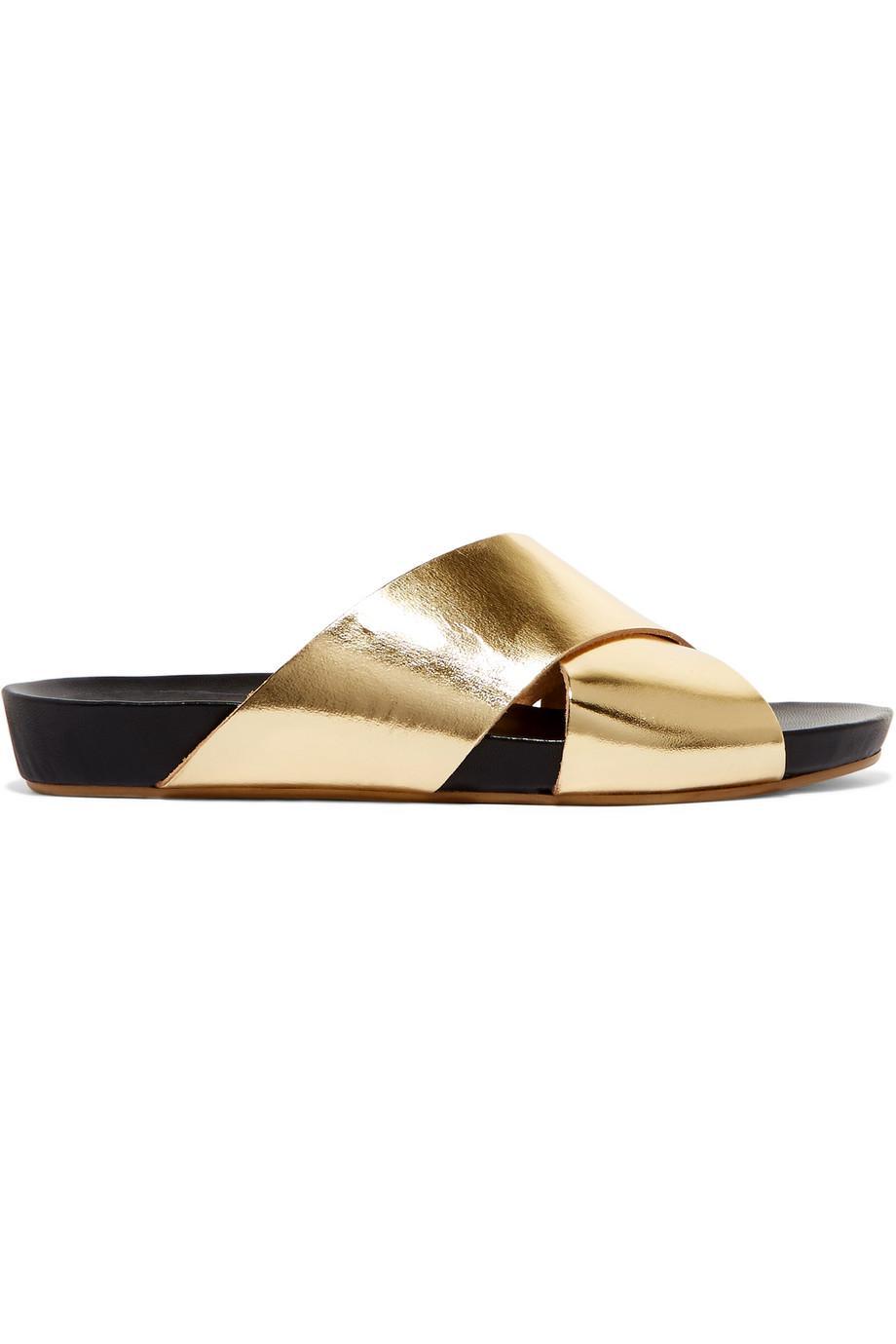 Doris Metallic Leather Slides - Gold ATP Atelier P2Pz6DLg