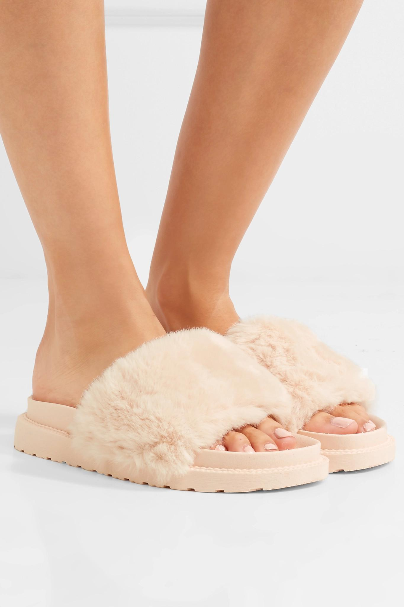 2fd98b42a47c Lyst - Sam Edelman Blaire Faux Fur Slides in Pink