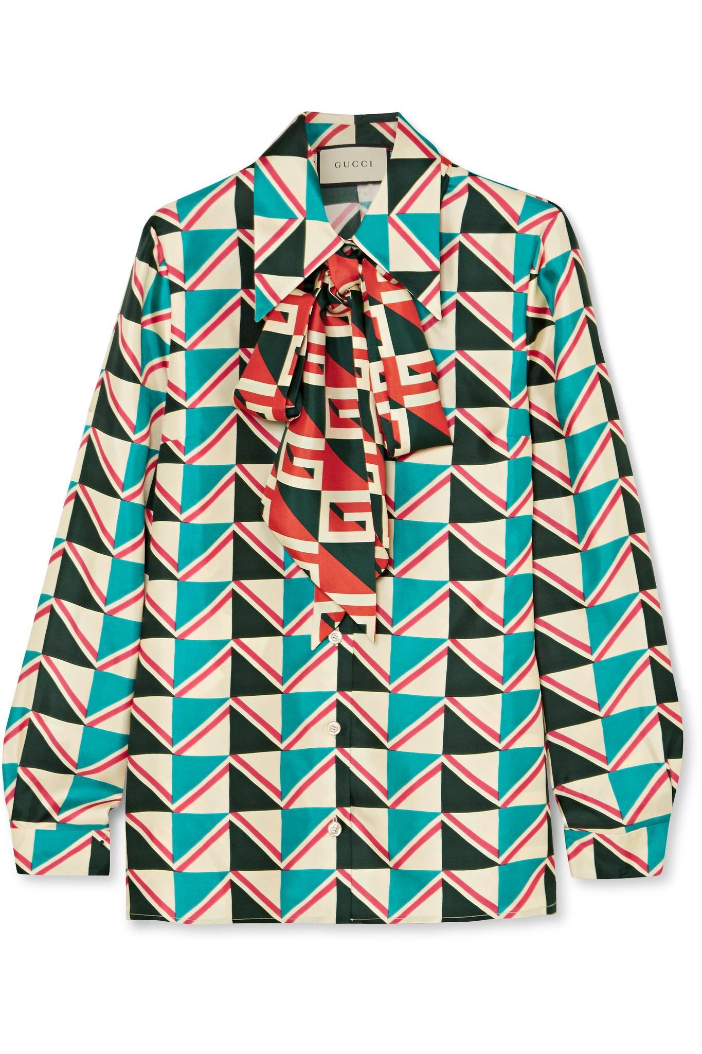 c2cd60af34d Gucci - Green Pussy-bow Printed Silk-twill Shirt - Lyst. View fullscreen
