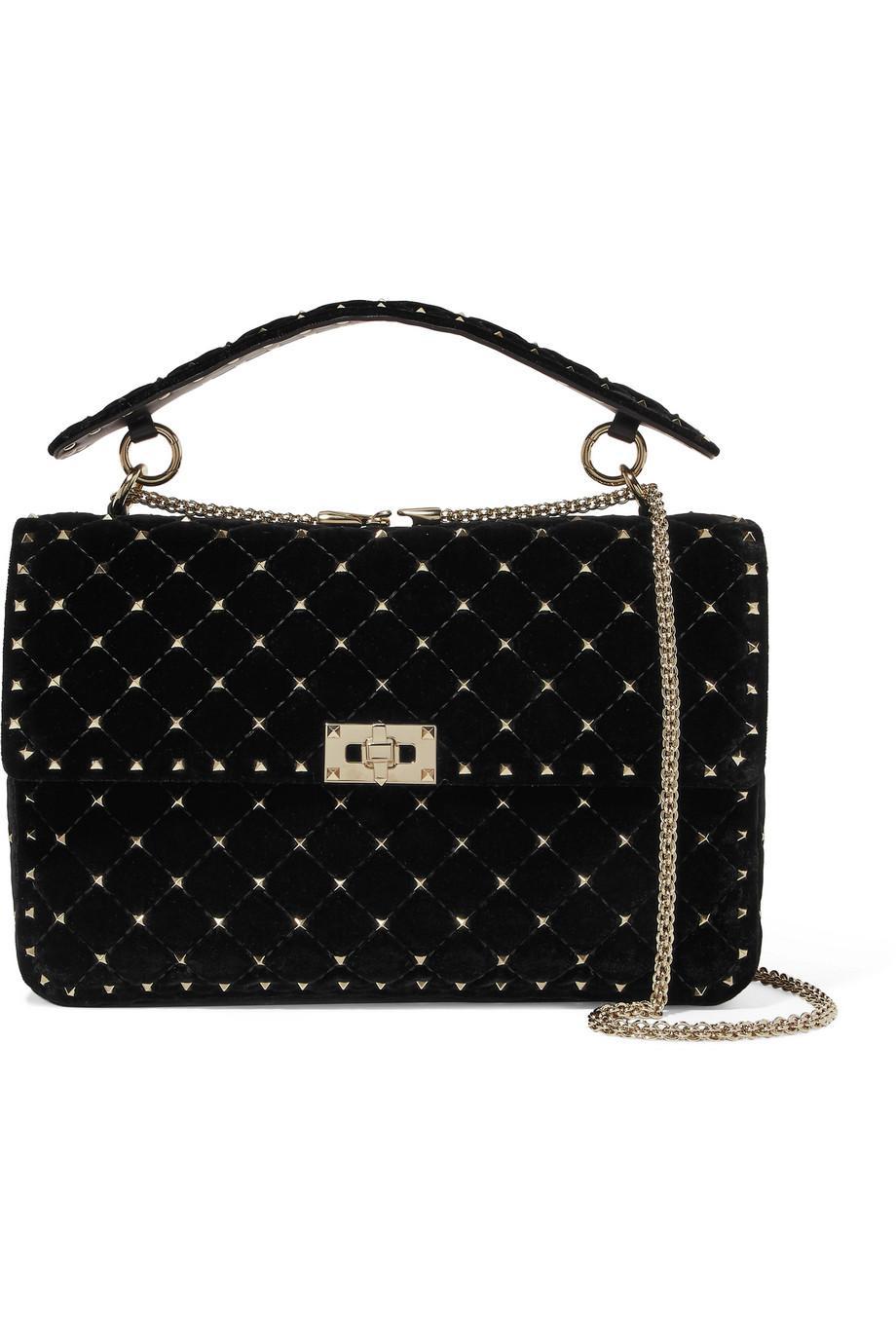 Valentino Rockstud Velvet Spike Medium Shoulder Bag 68GZ7vc