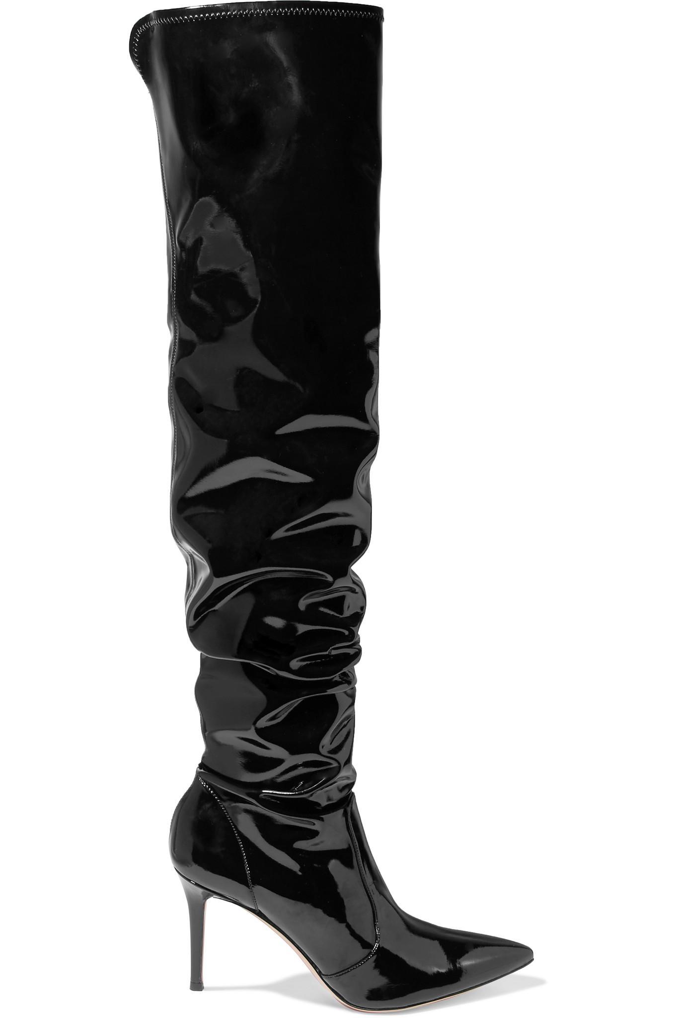16f14d2786e Lyst - Gianvito Rossi 85 Vinyl Over-the-knee Boots in Black