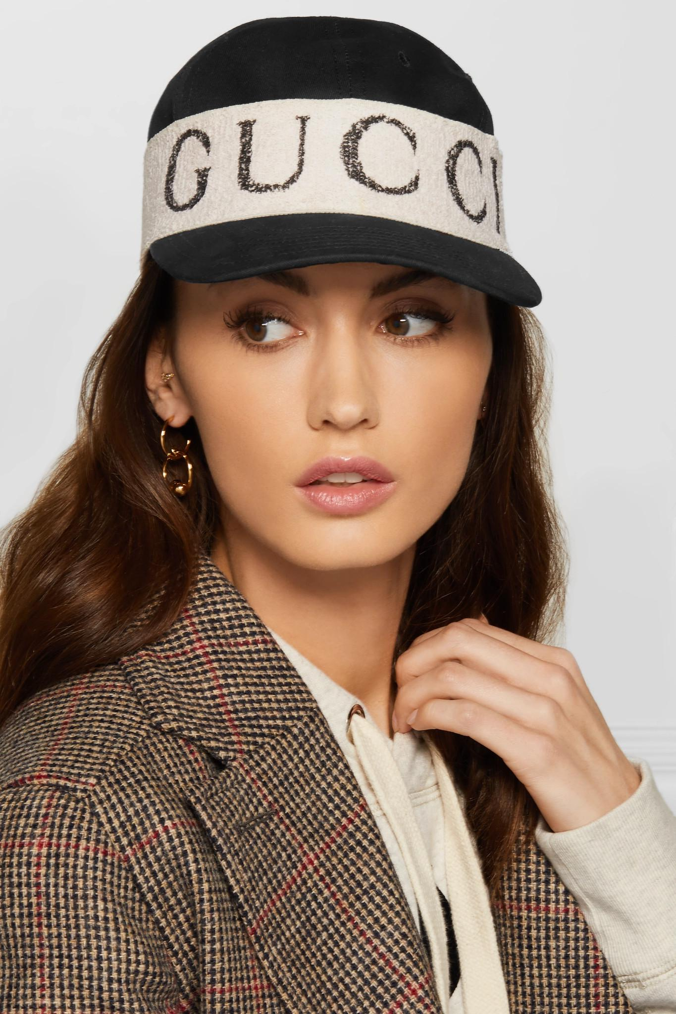 Lyst - Gucci Cotton-twill And Printed Terry Baseball Cap in Black 080d379a5f8