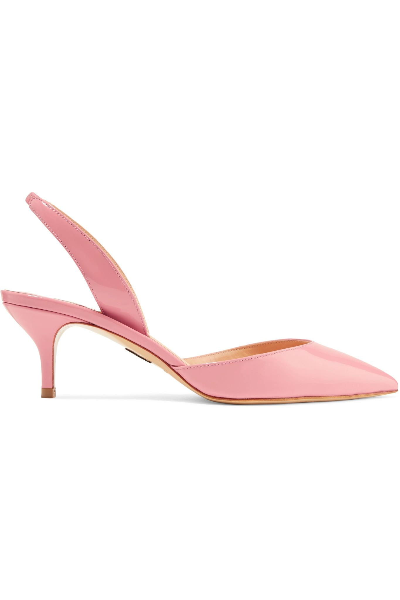 Rhea Patent-leather Slingback Pumps - Baby pink PAUL ANDREW O1Brk