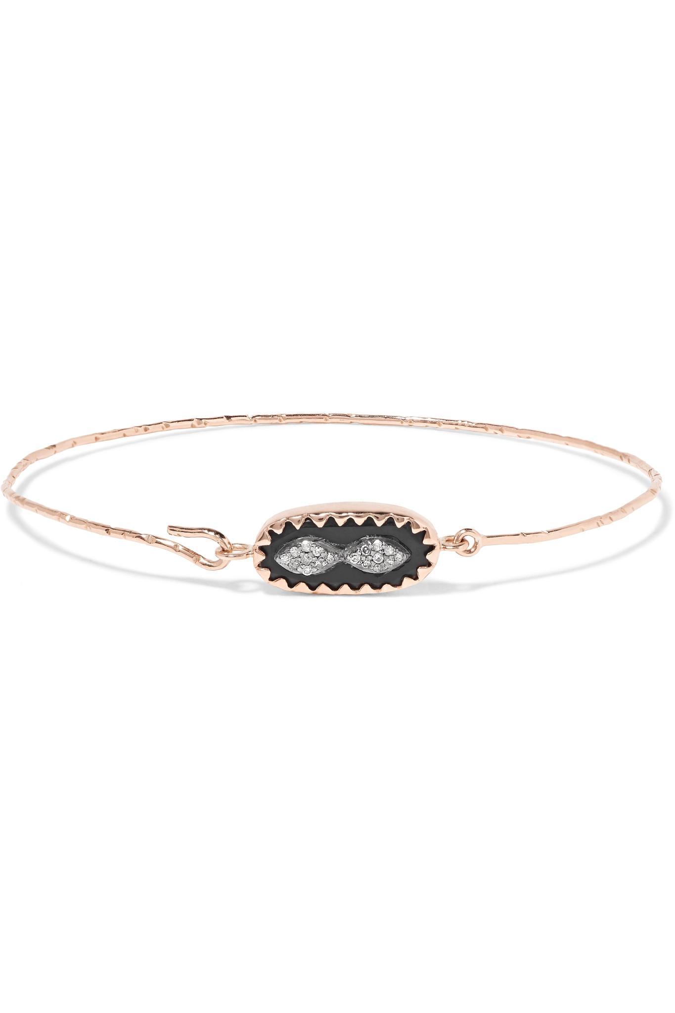 Pascale Monvoisin Montauk 9-karat Rose Gold, Sterling Silver, Bakelite And Diamond Bracelet