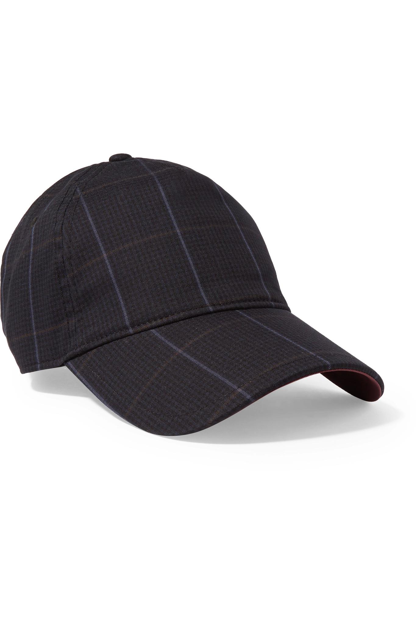 Marilyn Leather-trimmed Checked Cotton-blend Baseball Cap - Navy Rag & Bone