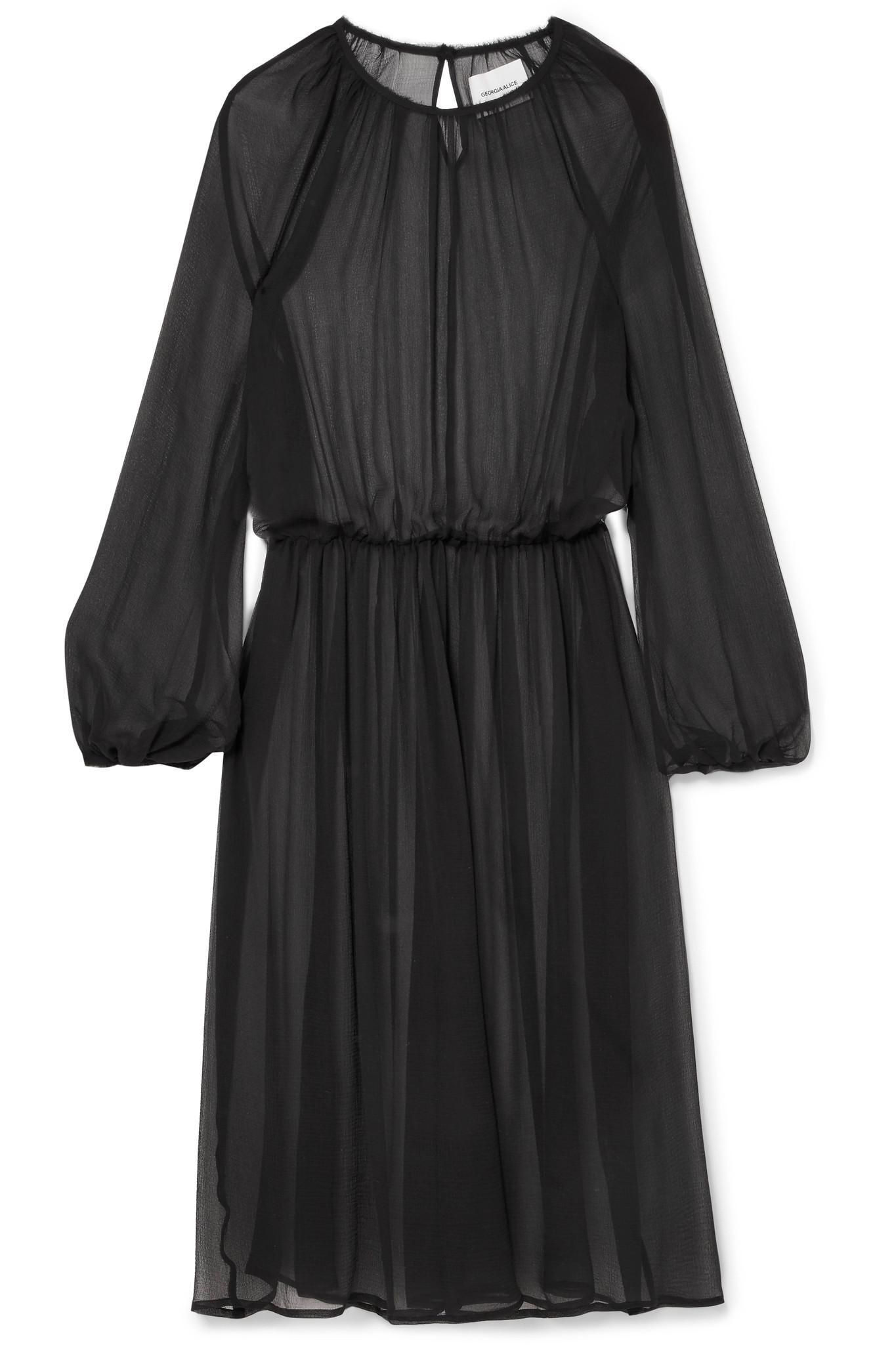 New Angel Silk-chiffon Midi Dress - Black Georgia Alice 0d1OMNBHSf