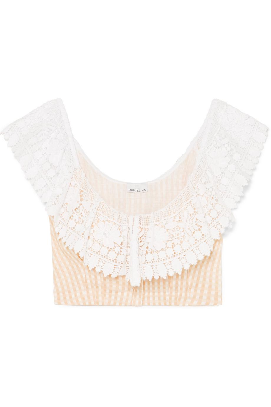 Miguelina Woman Cropped One-shoulder Guipure Lace And Linen Top Pastel Pink Size L Miguelina With Credit Card Free Shipping Top Quality Sale Online Discount Fake Cheap Limited Edition Discount Official iP0i5Cj1k