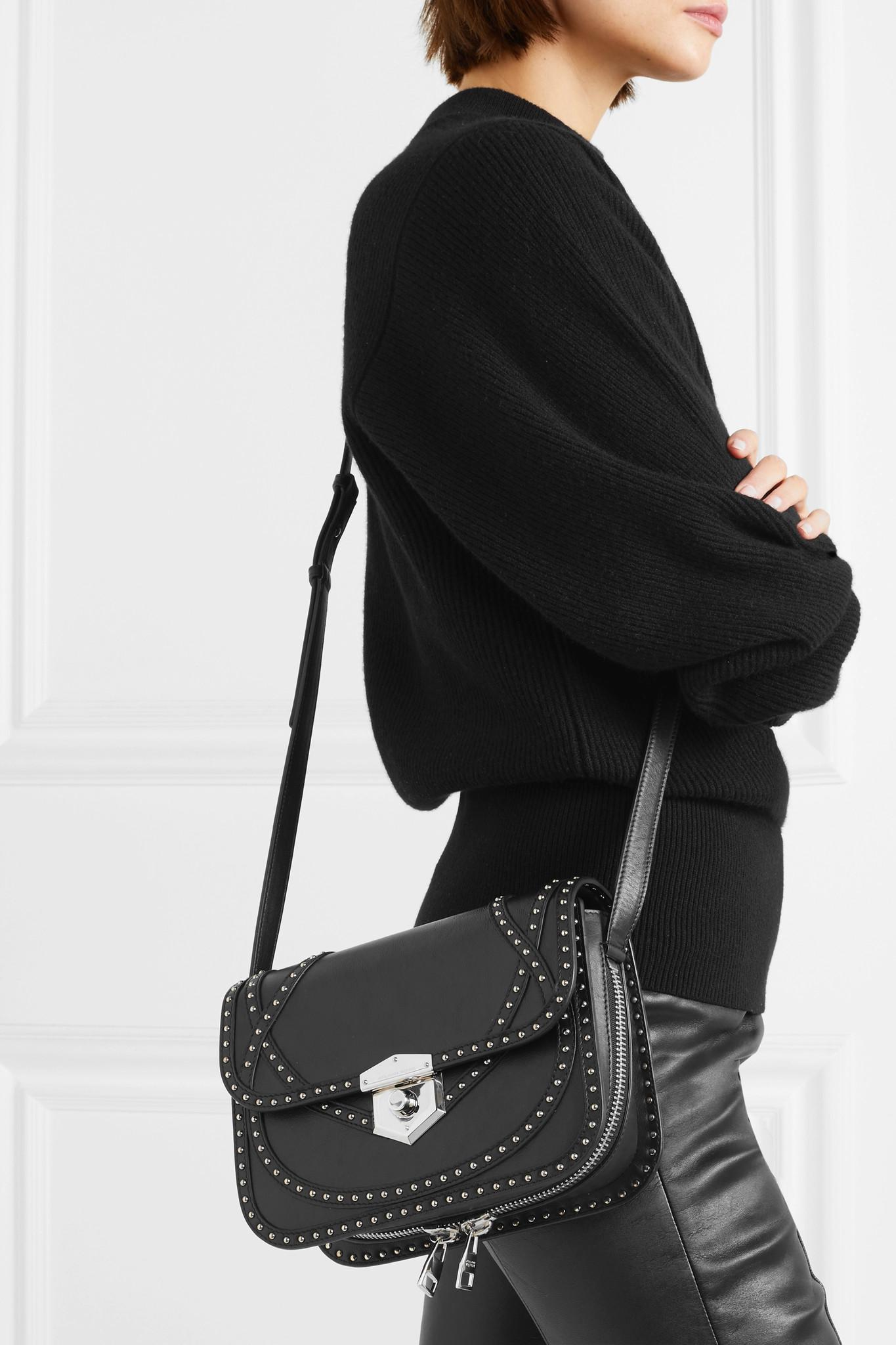 Lyst - Alexander McQueen Wicca Studded Textured-leather Shoulder Bag ... b1bded57da0f3