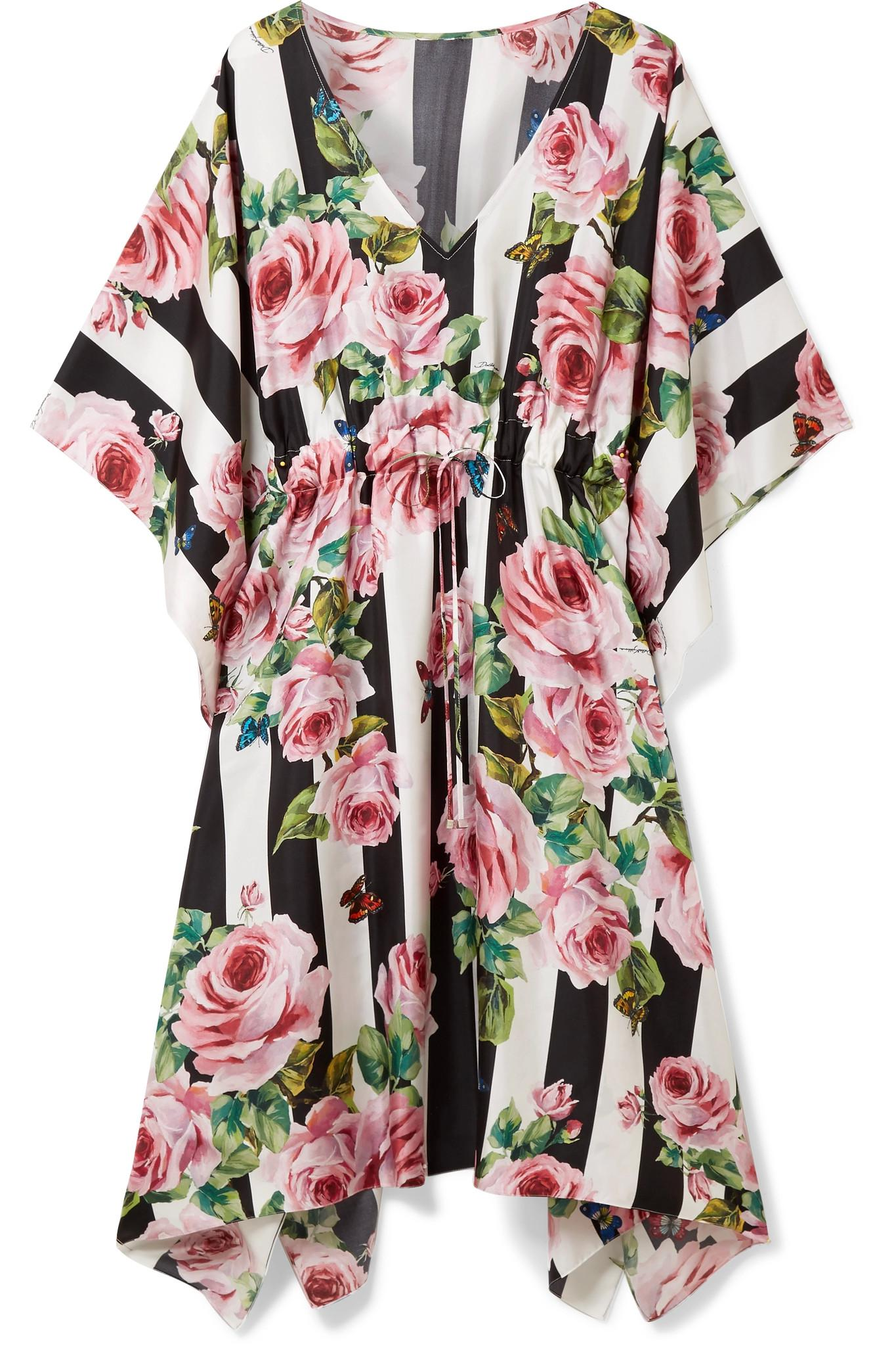 Printed Silk-twill Kaftan - Antique rose Dolce & Gabbana